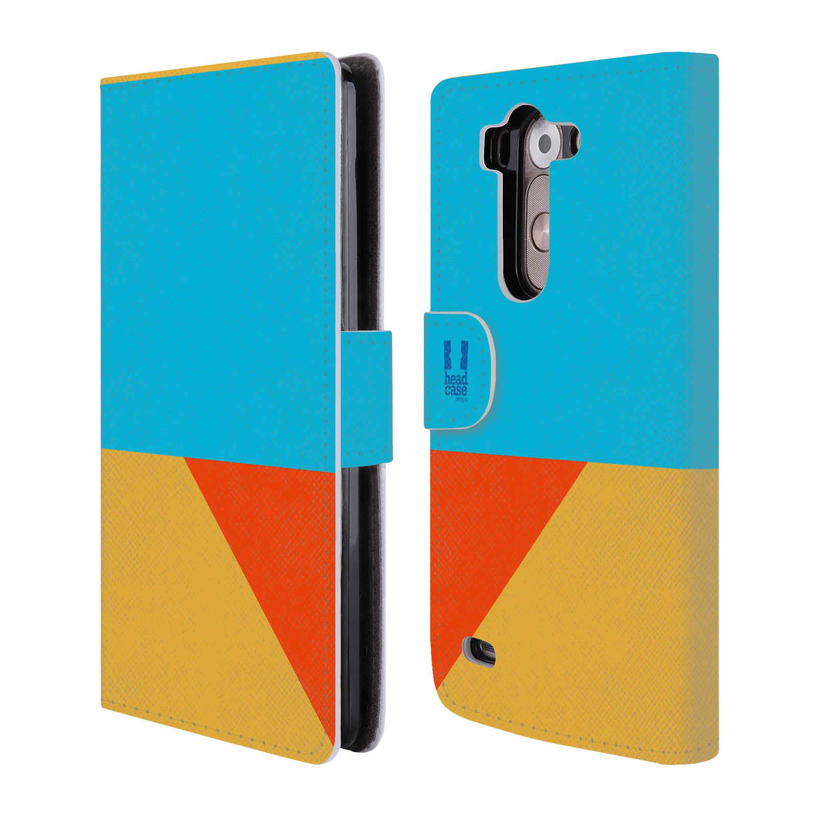HEAD CASE Flipové pouzdro pro mobil LG G3s barevné tvary béžová a modrá DAY WEAR
