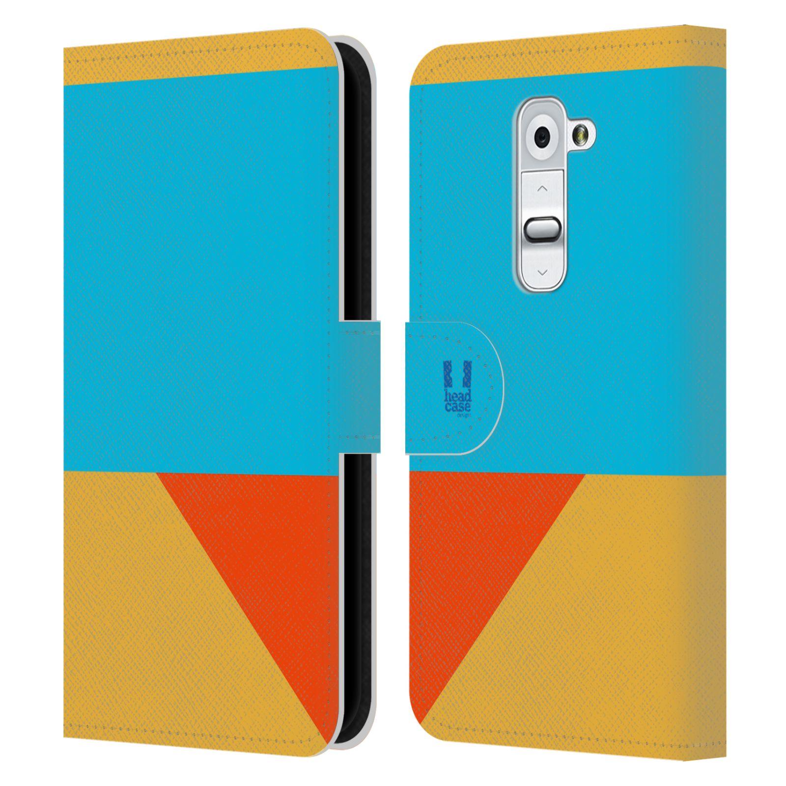 HEAD CASE Flipové pouzdro pro mobil LG G2 barevné tvary béžová a modrá DAY WEAR