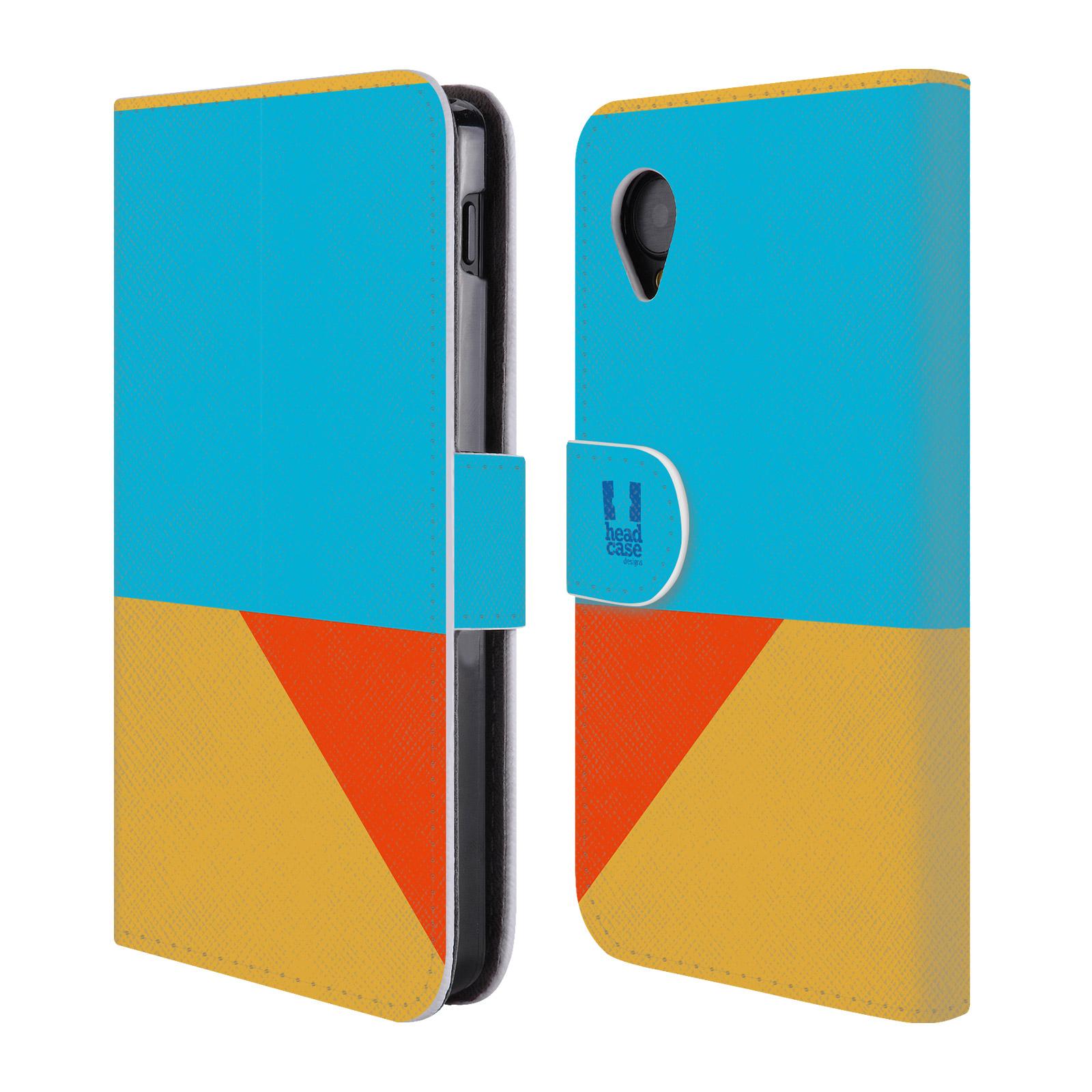 HEAD CASE Flipové pouzdro pro mobil LG GOOGLE NEXUS 5 barevné tvary béžová a modrá DAY WEAR