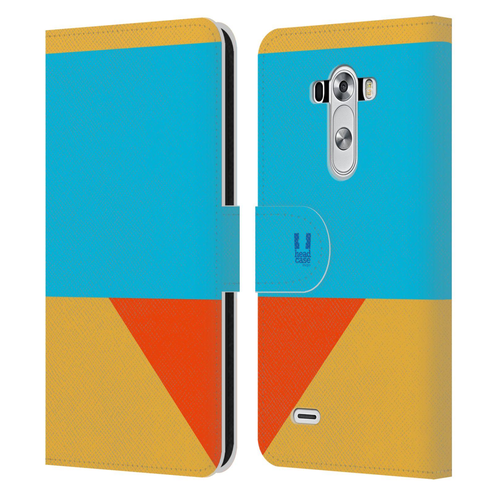 HEAD CASE Flipové pouzdro pro mobil LG G3 barevné tvary béžová a modrá DAY WEAR