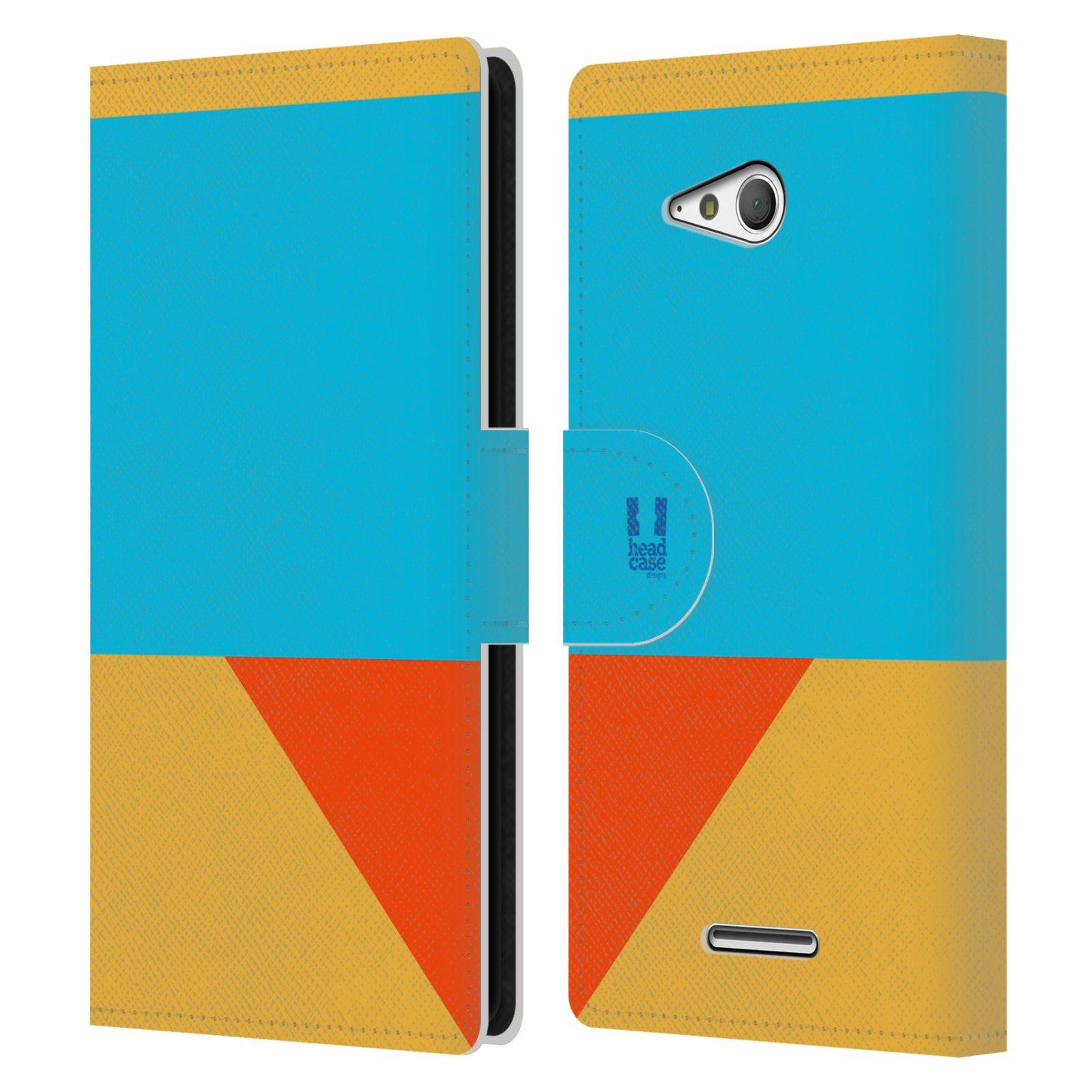 HEAD CASE Flipové pouzdro pro mobil SONY Xperia E4g barevné tvary béžová a modrá DAY WEAR