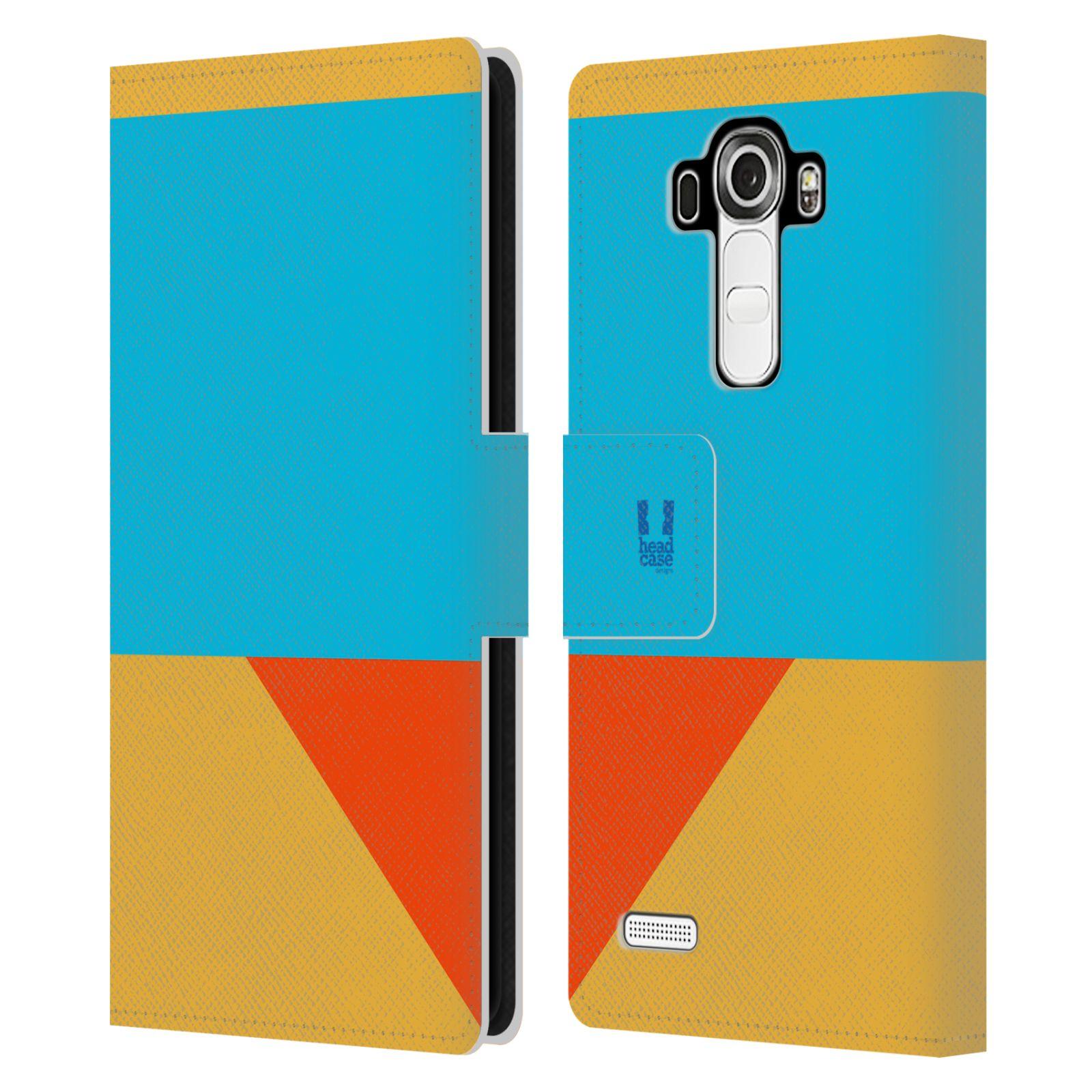 HEAD CASE Flipové pouzdro pro mobil LG G4 barevné tvary béžová a modrá DAY WEAR