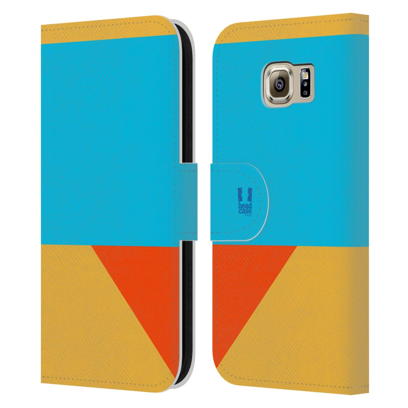 HEAD CASE Flipové pouzdro pro mobil Samsung Galaxy S6 barevné tvary béžová a modrá DAY WEAR