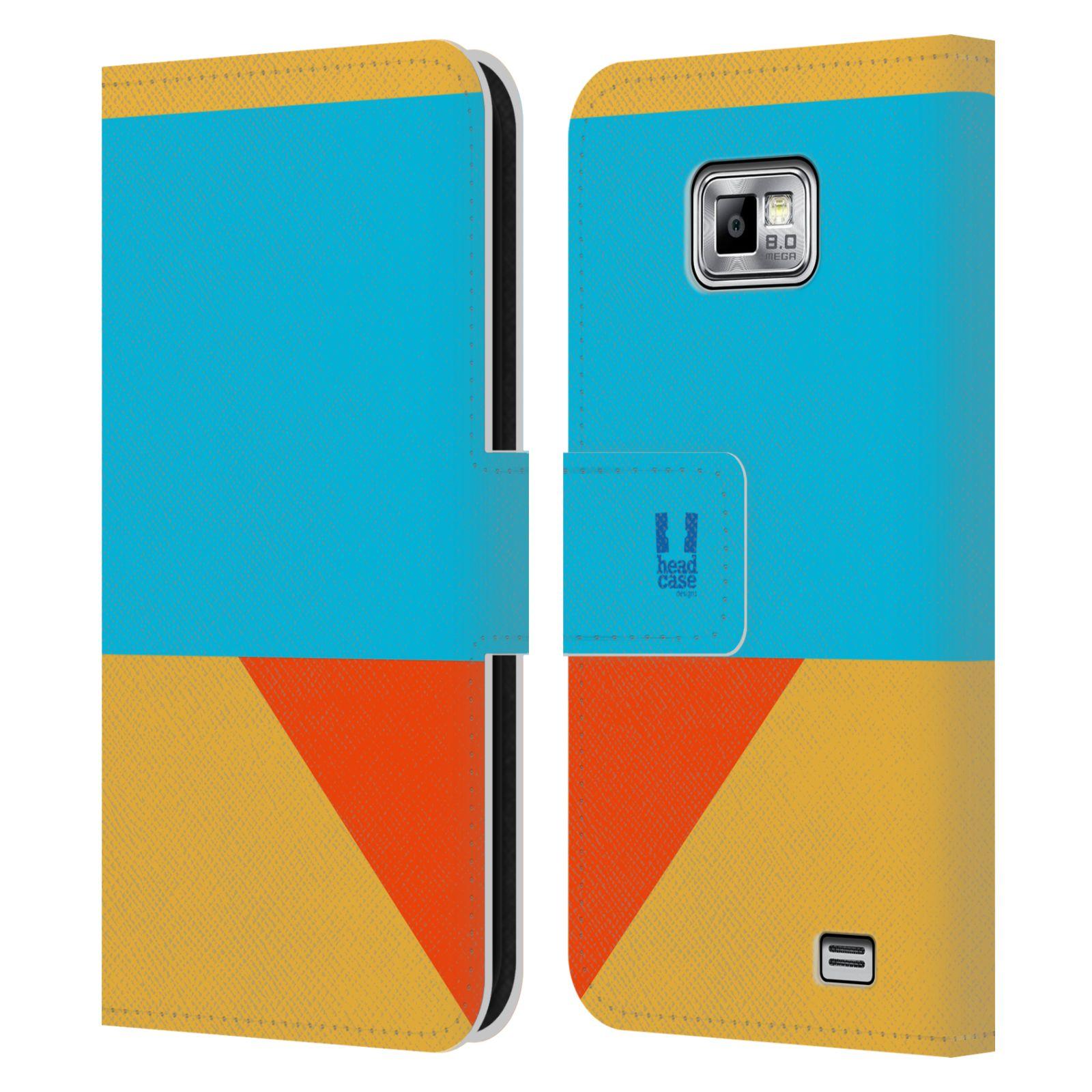 HEAD CASE Flipové pouzdro pro mobil Samsung Galaxy S2 i9100 barevné tvary béžová a modrá DAY WEAR