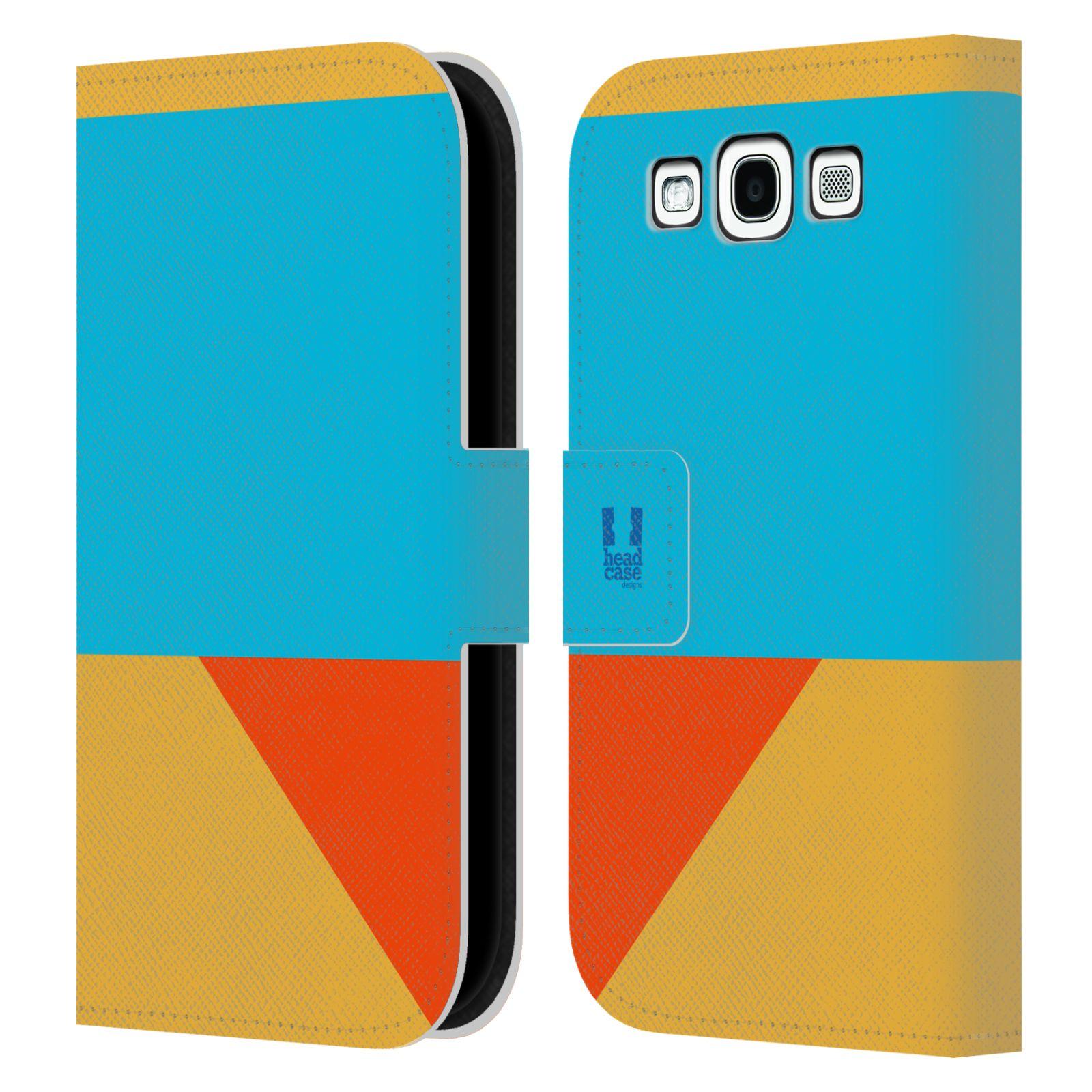 HEAD CASE Flipové pouzdro pro mobil Samsung Galaxy S3 I9300 barevné tvary béžová a modrá DAY WEAR