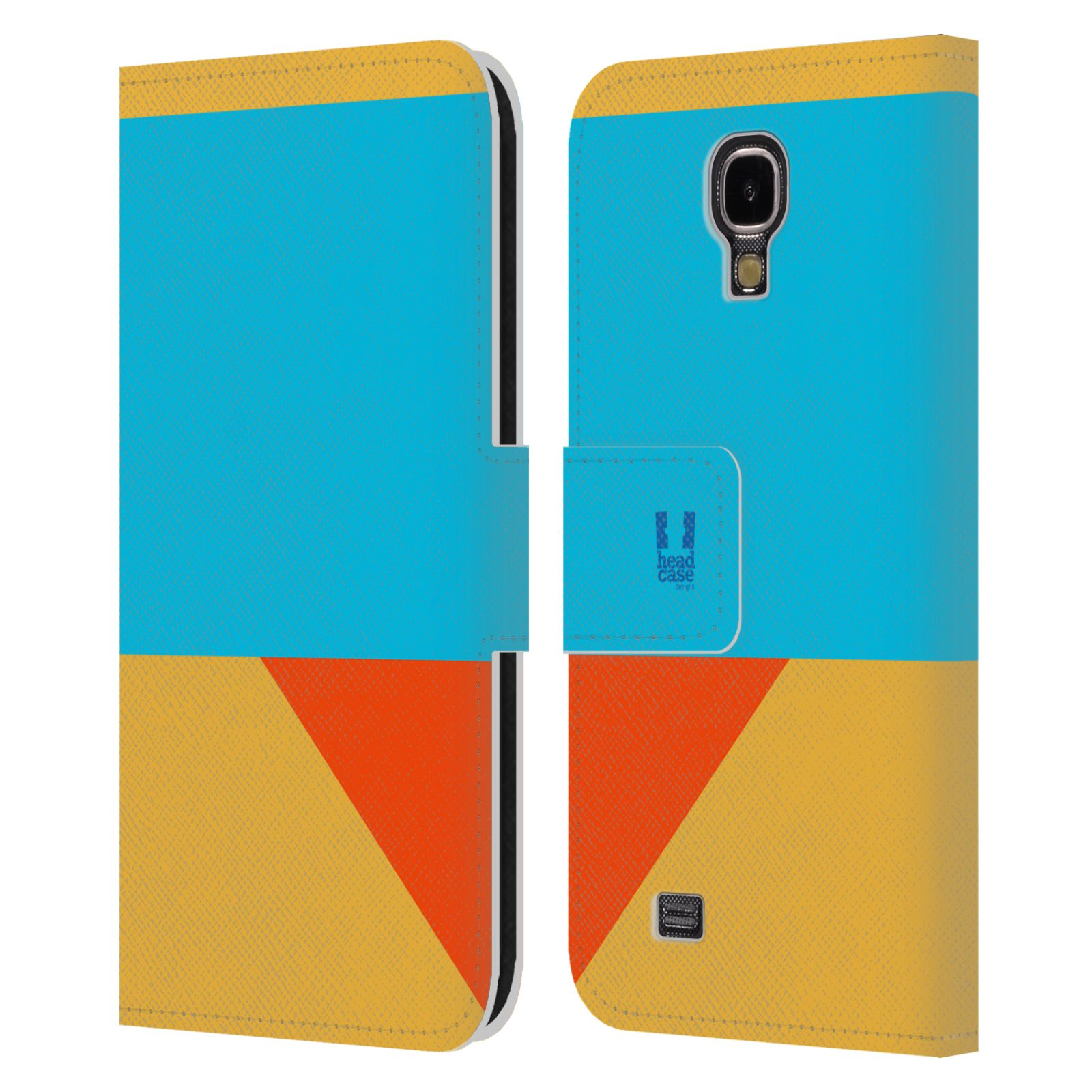 HEAD CASE Flipové pouzdro pro mobil Samsung Galaxy S4 I9500 barevné tvary béžová a modrá DAY WEAR