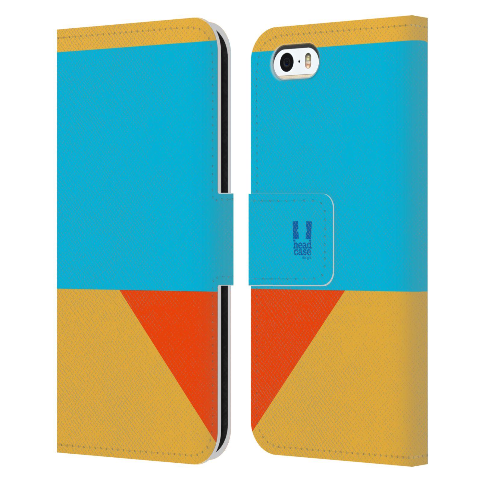 HEAD CASE Flipové pouzdro pro mobil Apple Iphone 5/5S barevné tvary béžová a modrá DAY WEAR