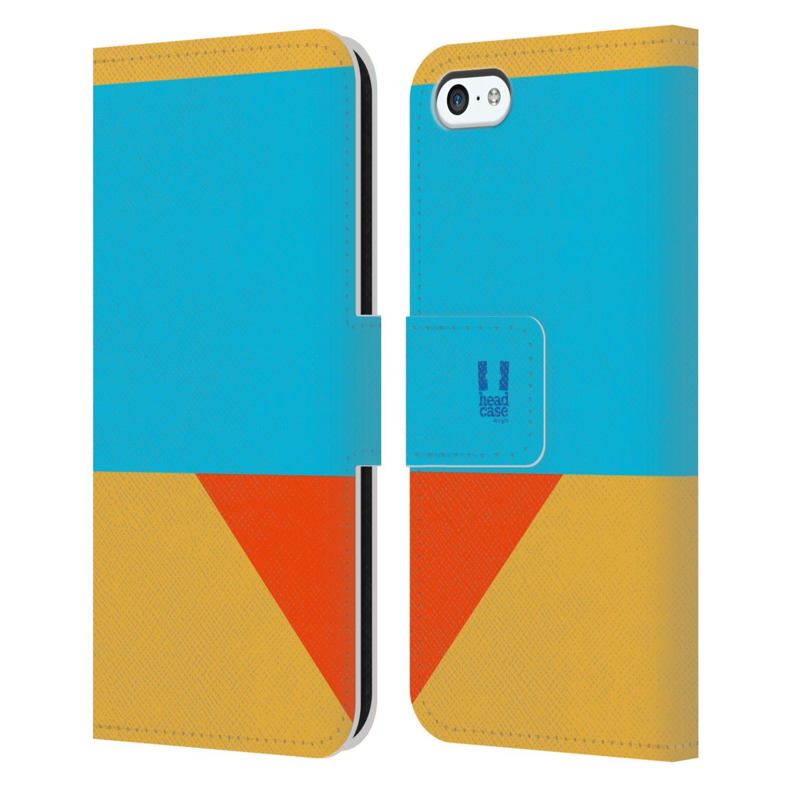 HEAD CASE Flipové pouzdro pro mobil Apple Iphone 5C barevné tvary béžová a modrá DAY WEAR