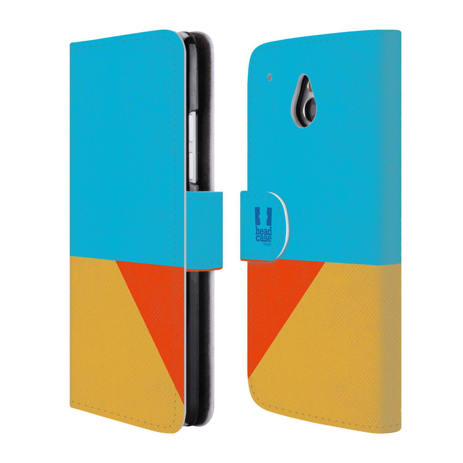HEAD CASE Flipové pouzdro pro mobil HTC ONE MINI barevné tvary béžová a modrá DAY WEAR