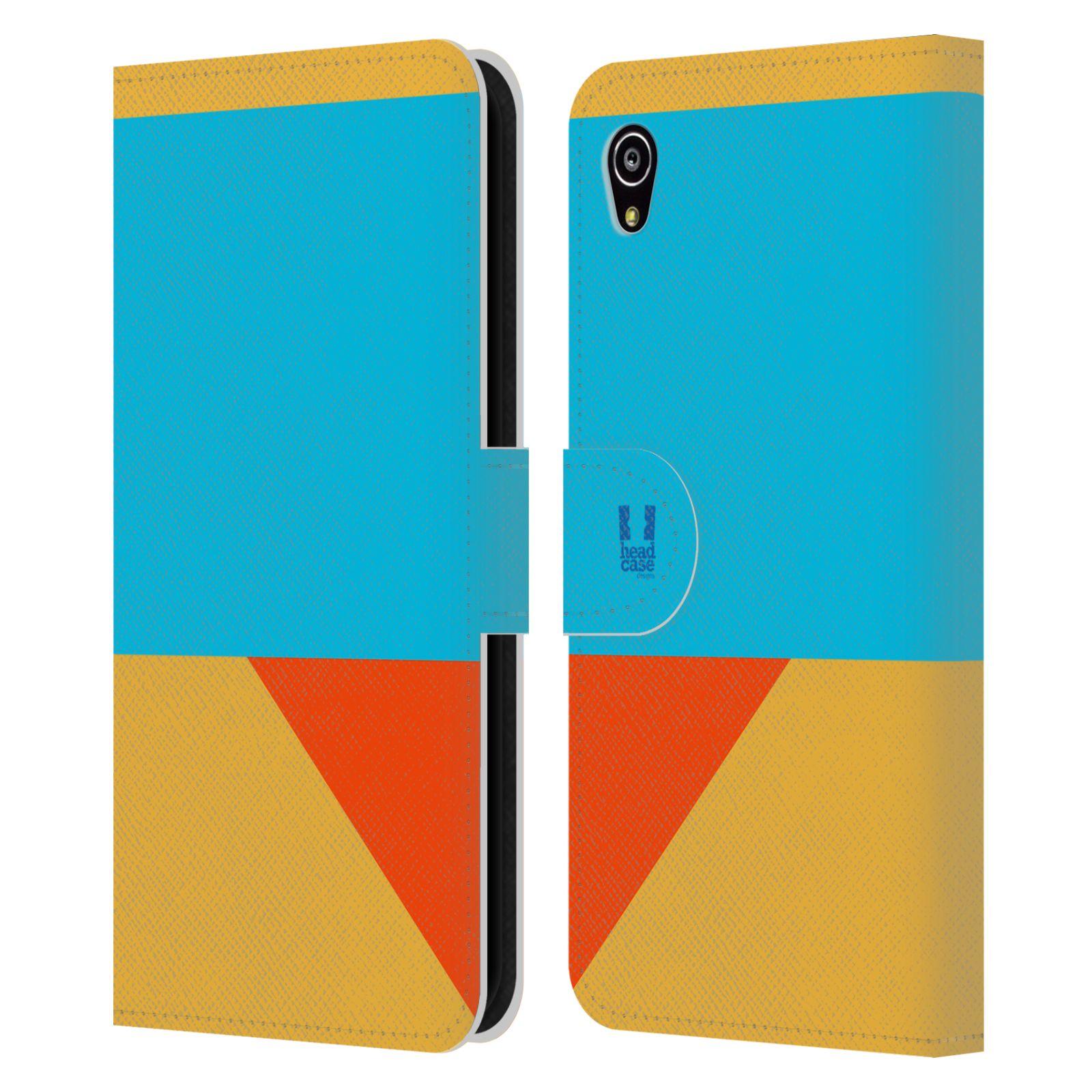 HEAD CASE Flipové pouzdro pro mobil SONY Xperia M4 Aqua barevné tvary béžová a modrá DAY WEAR