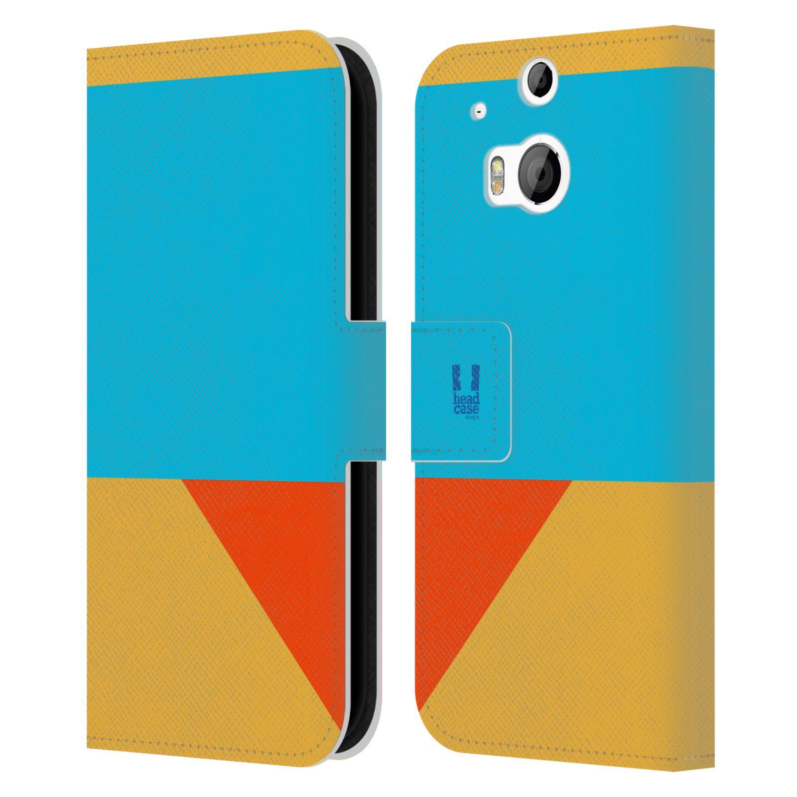 HEAD CASE Flipové pouzdro pro mobil HTC ONE M8/M8s barevné tvary béžová a modrá DAY WEAR