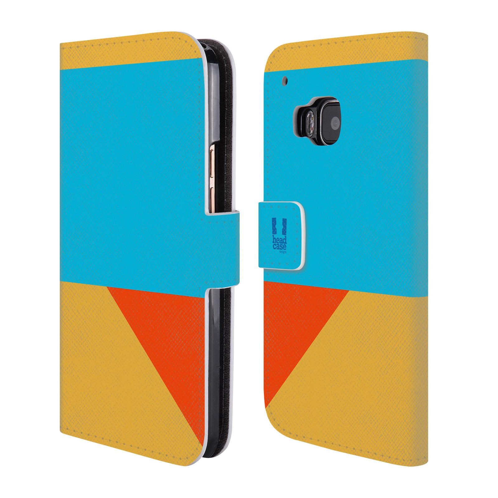 HEAD CASE Flipové pouzdro pro mobil HTC ONE M9 barevné tvary béžová a modrá DAY WEAR