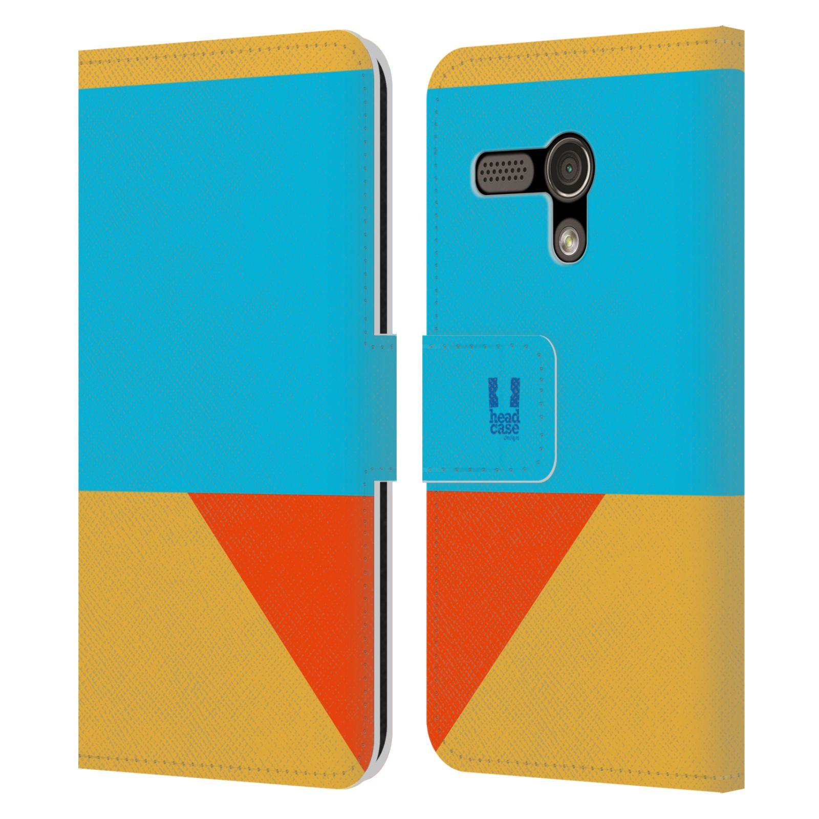 HEAD CASE Flipové pouzdro pro mobil Motorola MOTO G barevné tvary béžová a modrá DAY WEAR