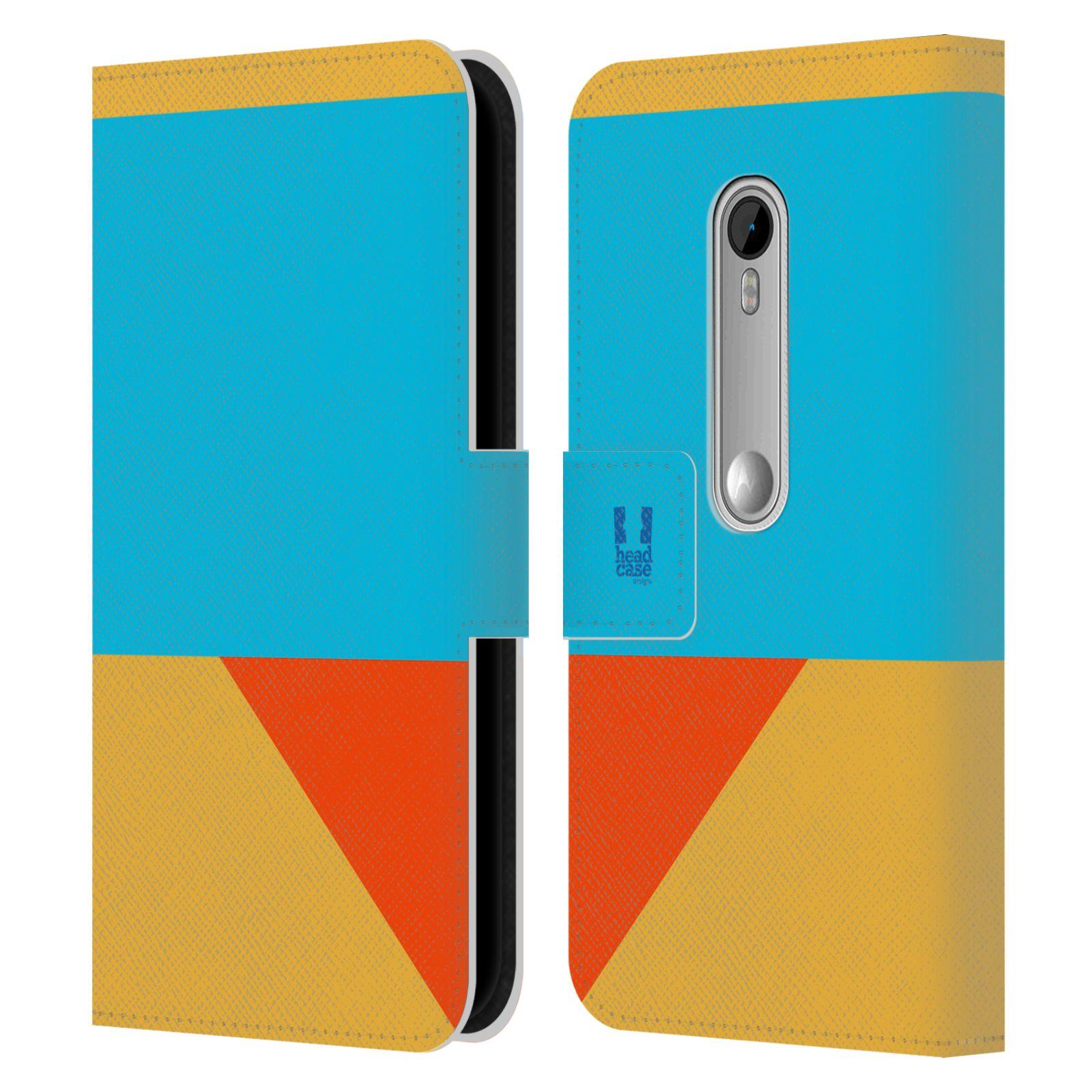 HEAD CASE Flipové pouzdro pro mobil Motorola MOTO G 3RD GENERATION barevné tvary béžová a modrá DAY WEAR