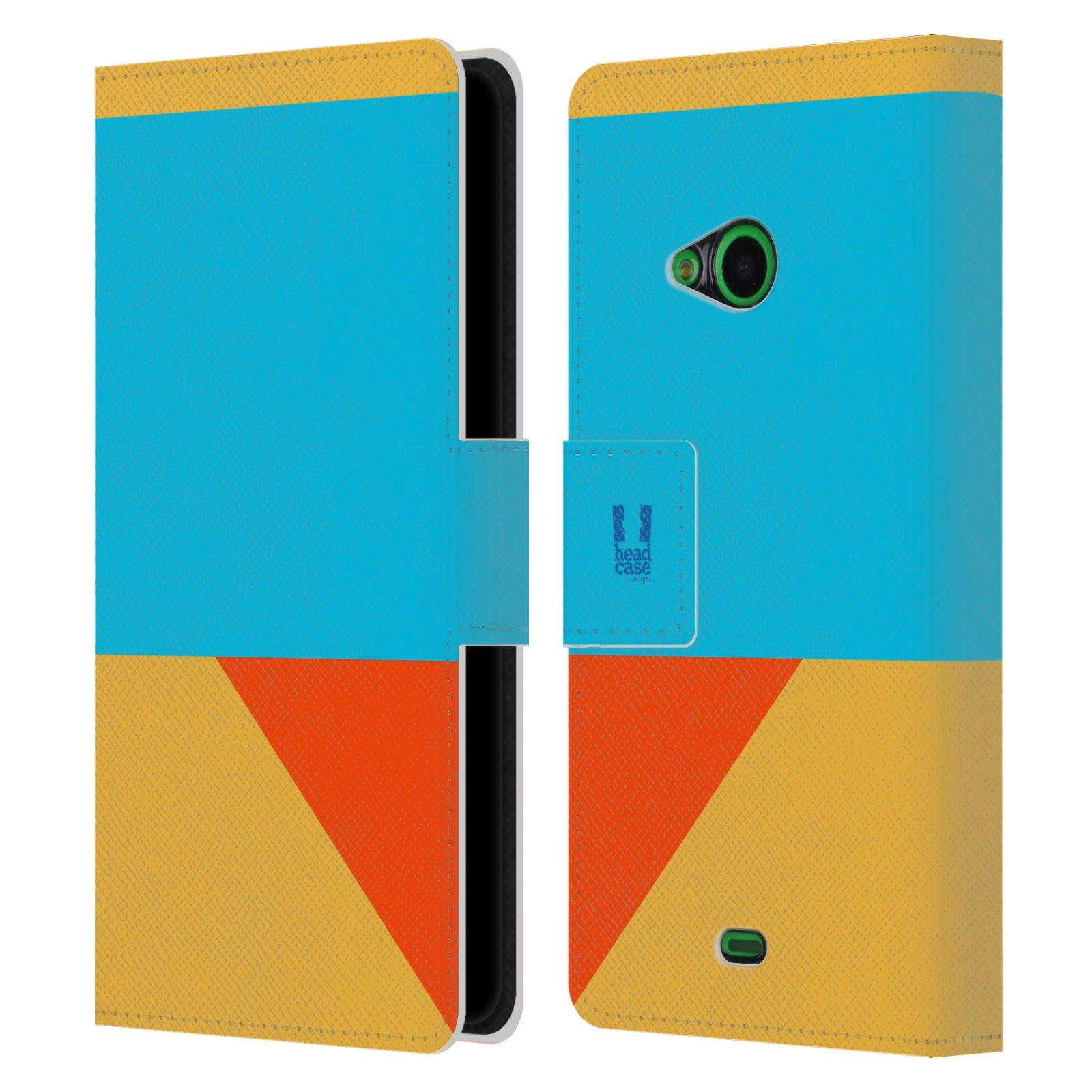 HEAD CASE Flipové pouzdro pro mobil Nokia LUMIA 535 barevné tvary béžová a modrá DAY WEAR