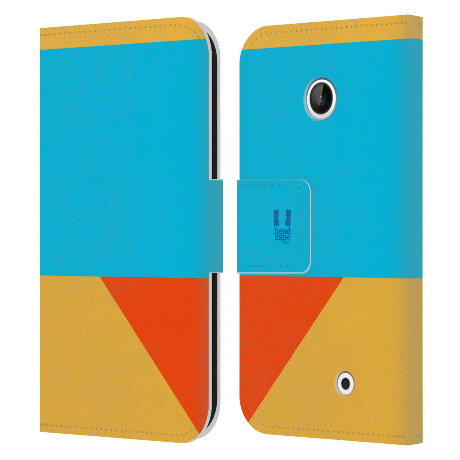 HEAD CASE Flipové pouzdro pro mobil Nokia LUMIA 630/630 DUAL barevné tvary béžová a modrá DAY WEAR