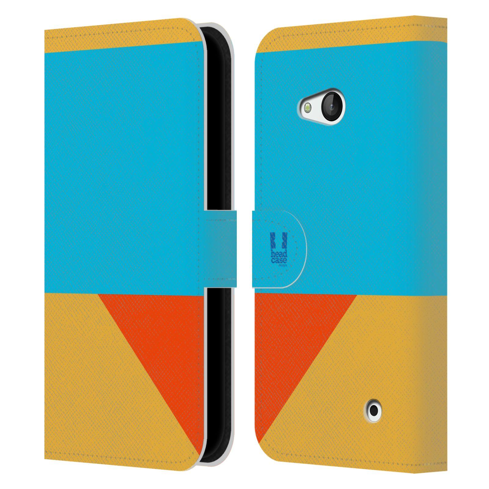 HEAD CASE Flipové pouzdro pro mobil Nokia LUMIA 640 barevné tvary béžová a modrá DAY WEAR