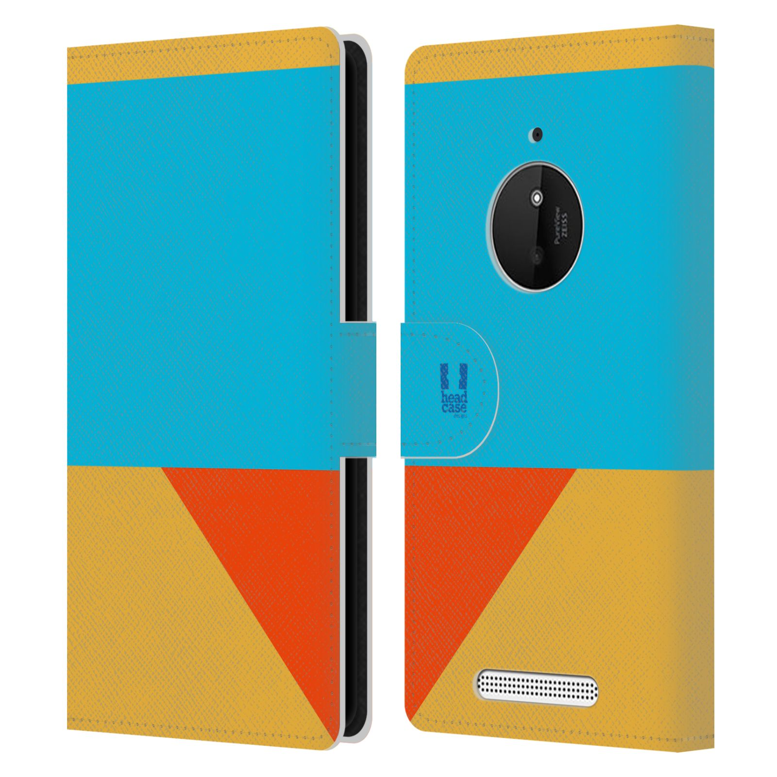 HEAD CASE Flipové pouzdro pro mobil Nokia LUMIA 830 barevné tvary béžová a modrá DAY WEAR