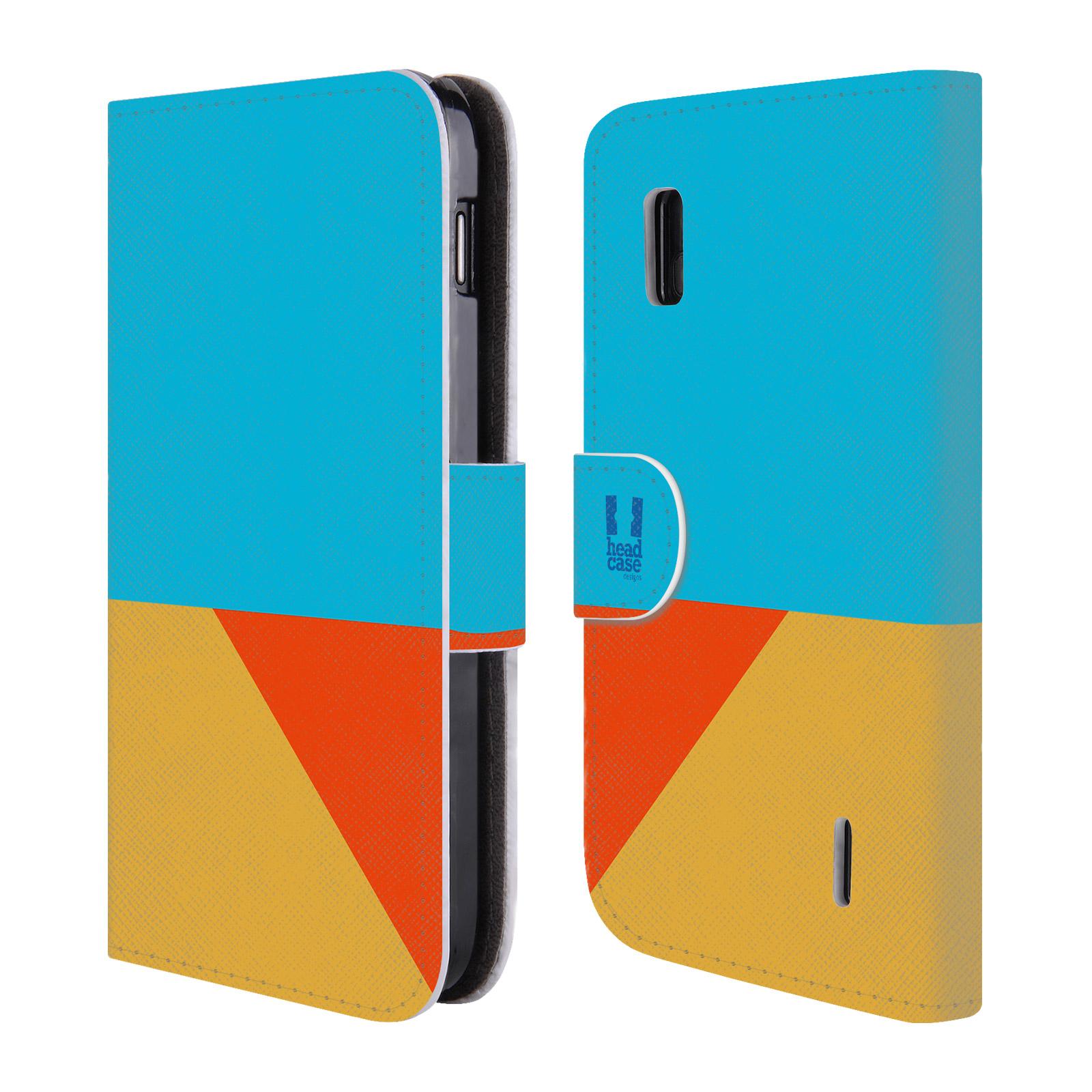 HEAD CASE Flipové pouzdro pro mobil LG NEXUS 4 barevné tvary béžová a modrá DAY WEAR
