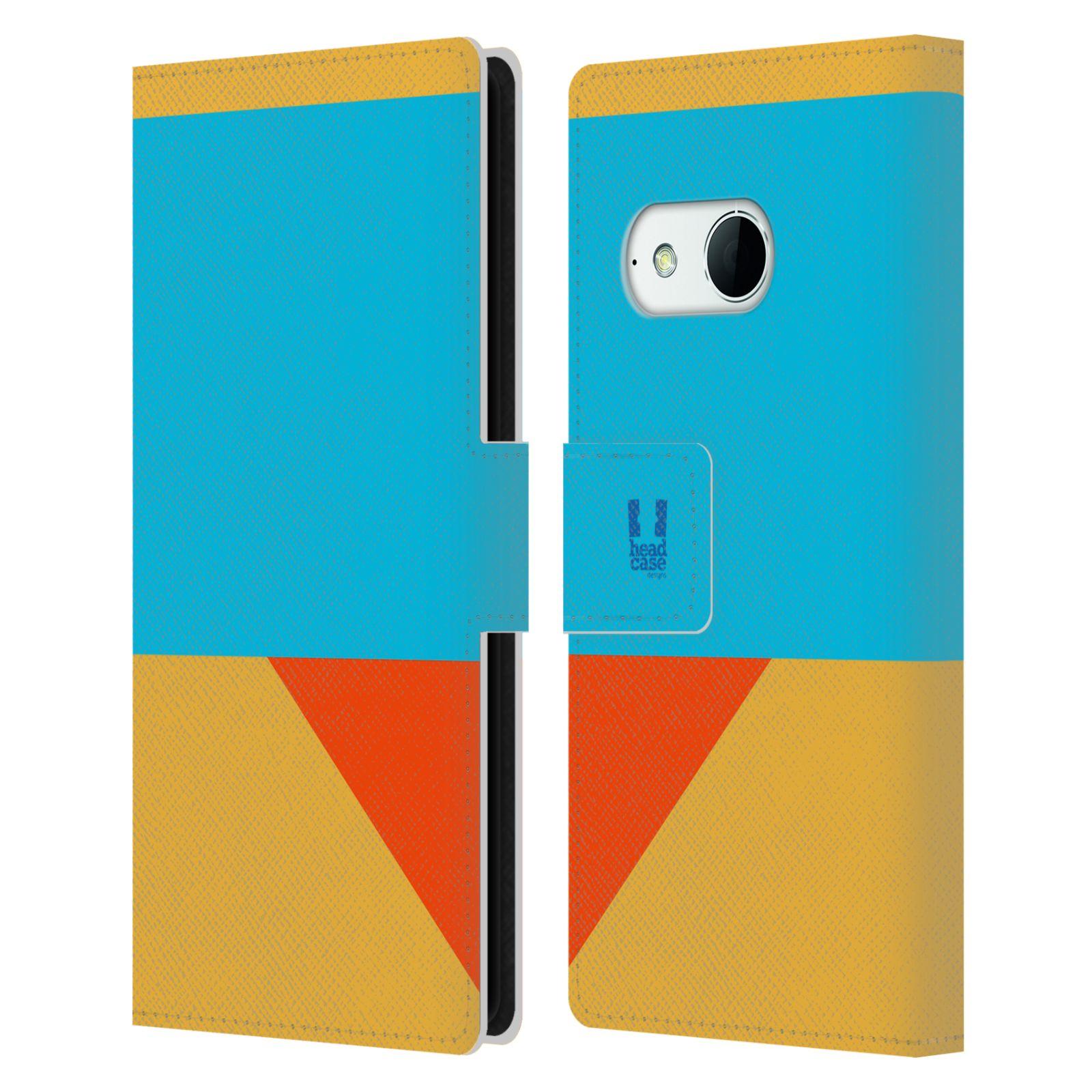 HEAD CASE Flipové pouzdro pro mobil HTC ONE MINI 2 barevné tvary béžová a modrá DAY WEAR
