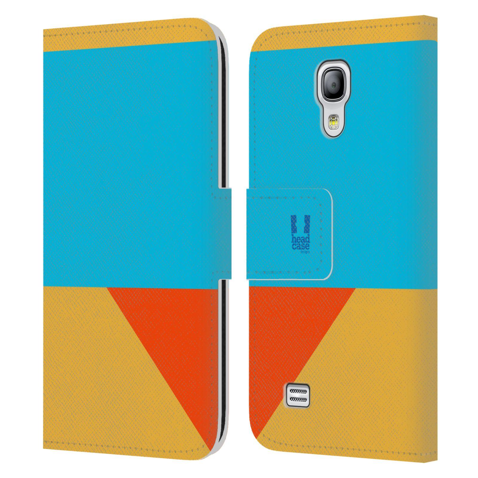 HEAD CASE Flipové pouzdro pro mobil Samsung Galaxy S4 MINI barevné tvary béžová a modrá DAY WEAR