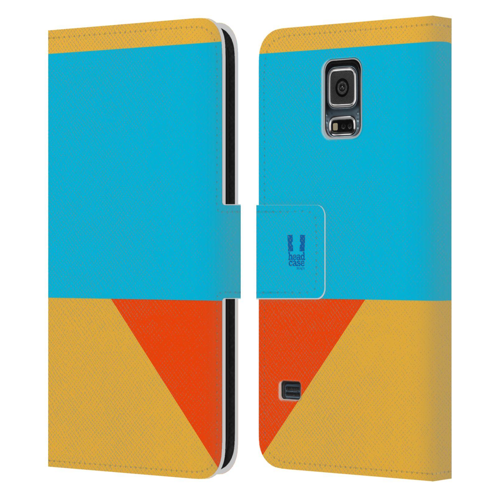 HEAD CASE Flipové pouzdro pro mobil Samsung Galaxy S5 barevné tvary béžová a modrá DAY WEAR