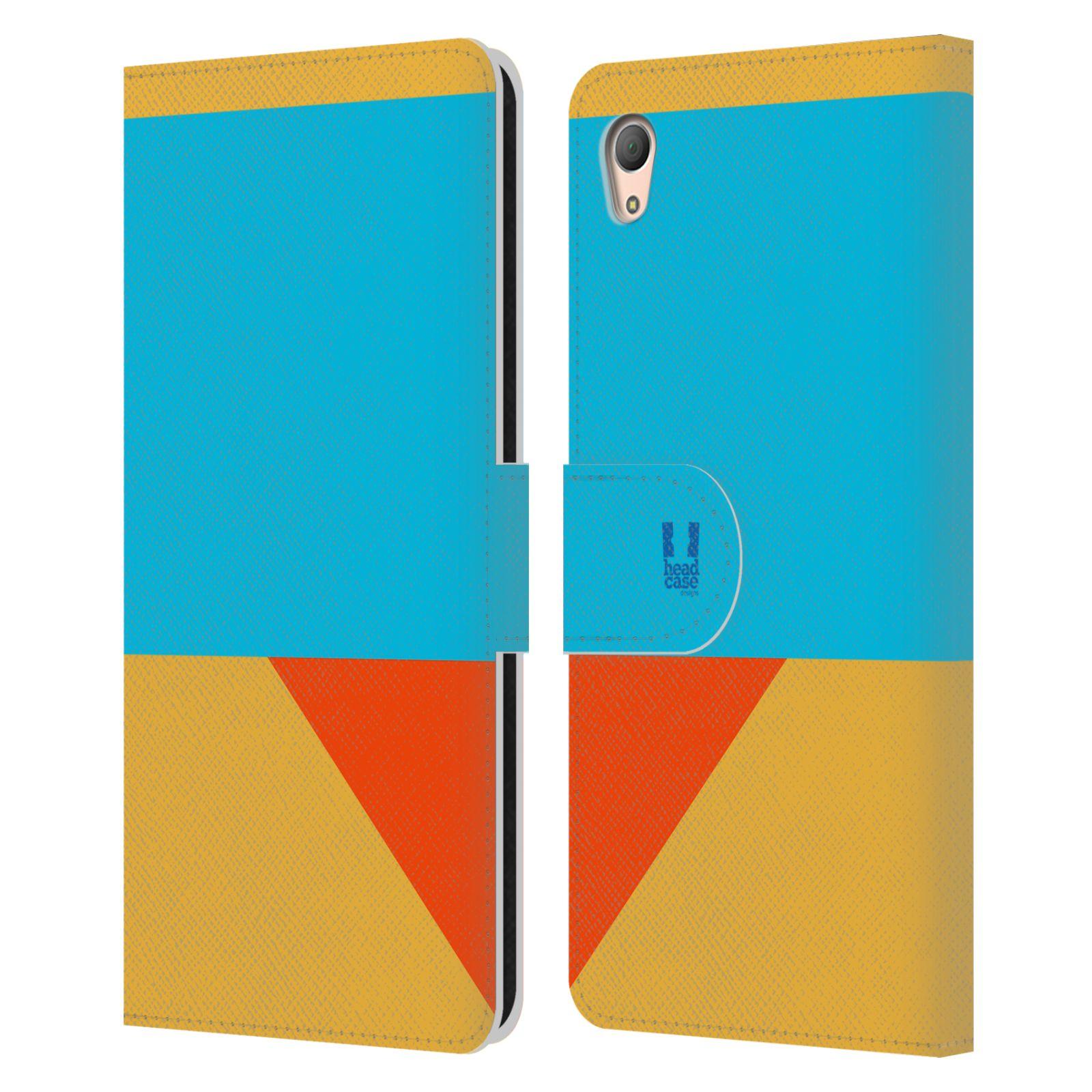 HEAD CASE Flipové pouzdro pro mobil SONY XPERIA Z3+(Z3 PLUS) barevné tvary béžová a modrá DAY WEAR