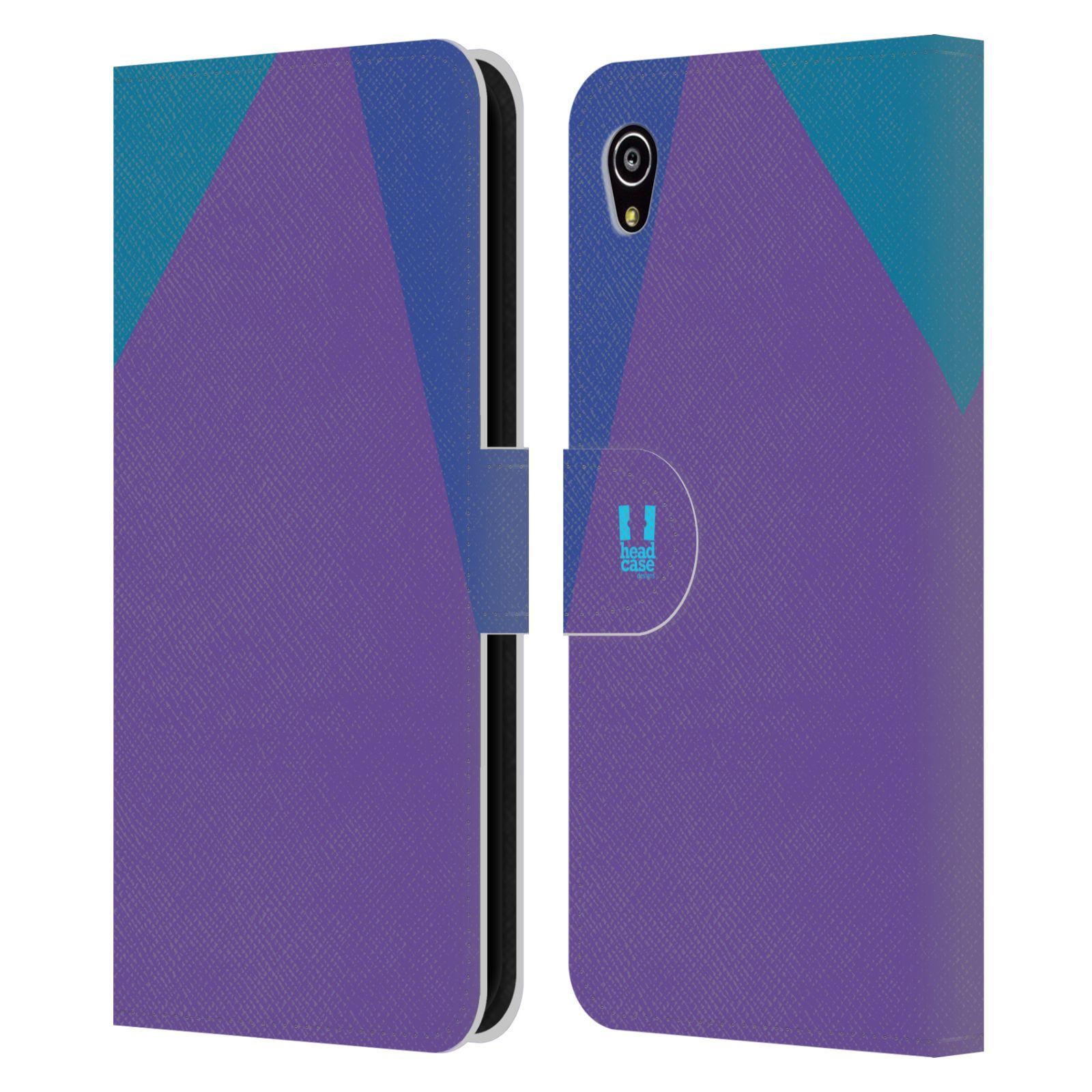 HEAD CASE Flipové pouzdro pro mobil SONY Xperia M4 Aqua barevné tvary fialová feminine