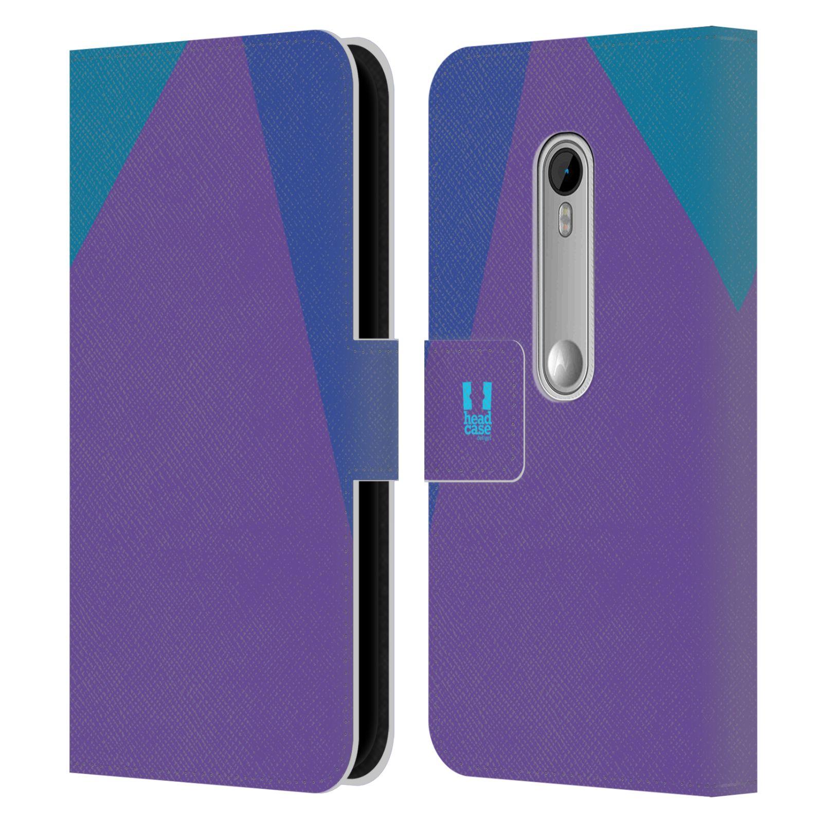 HEAD CASE Flipové pouzdro pro mobil Motorola MOTO G 3RD GENERATION barevné tvary fialová feminine