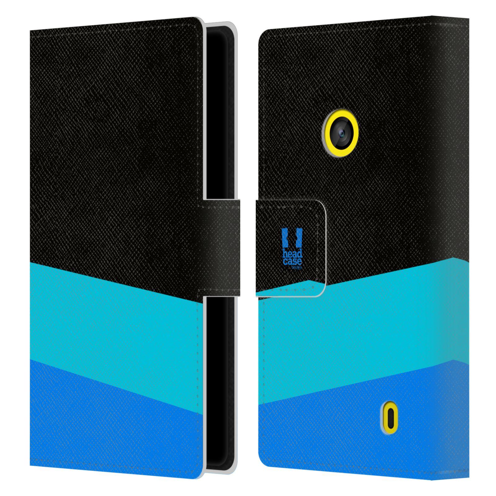 HEAD CASE Flipové pouzdro pro mobil Nokia LUMIA 520/525 barevné tvary modrá a černá FORMAL