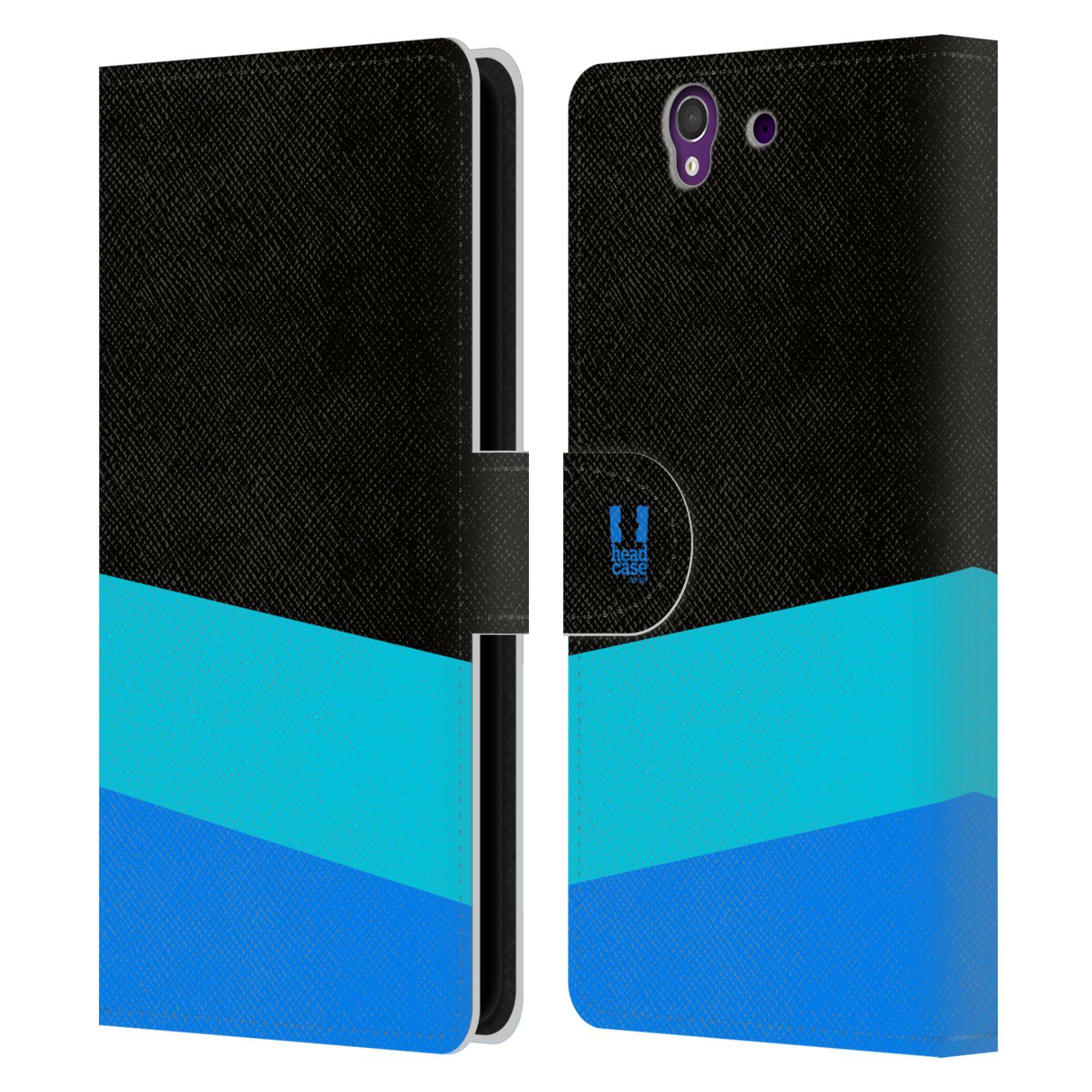 HEAD CASE Flipové pouzdro pro mobil SONY Xperia Z barevné tvary modrá a černá FORMAL