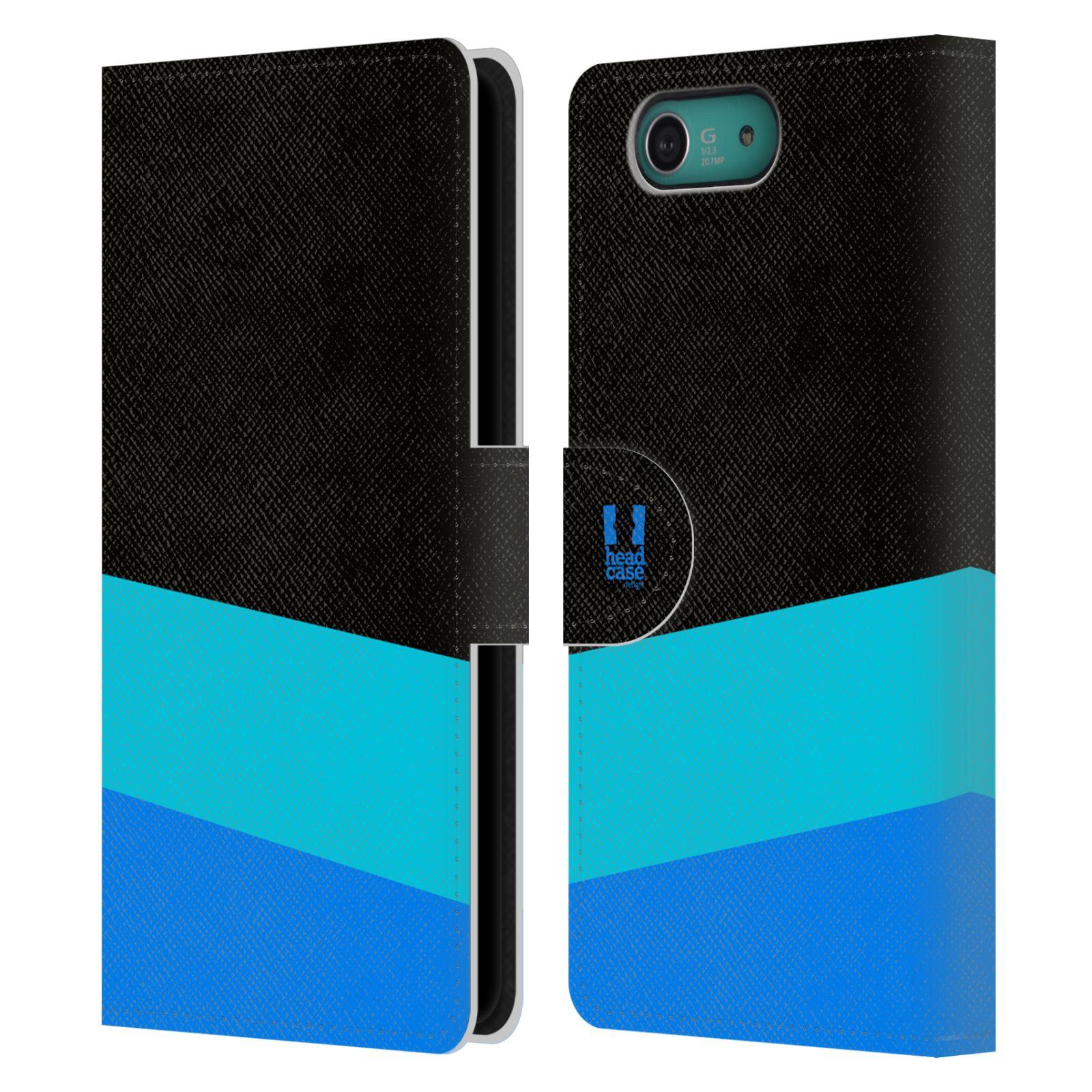 HEAD CASE Flipové pouzdro pro mobil SONY XPERIA Z3 COMPACT barevné tvary modrá a černá FORMAL