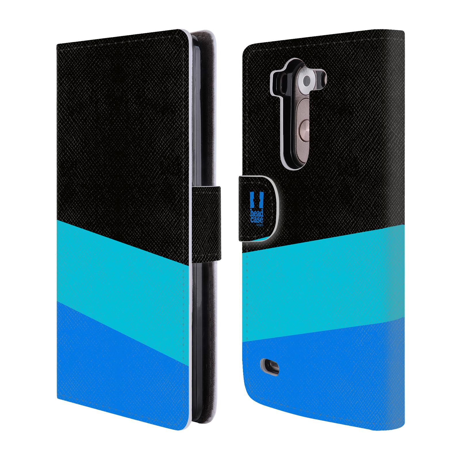HEAD CASE Flipové pouzdro pro mobil LG G3s barevné tvary modrá a černá FORMAL