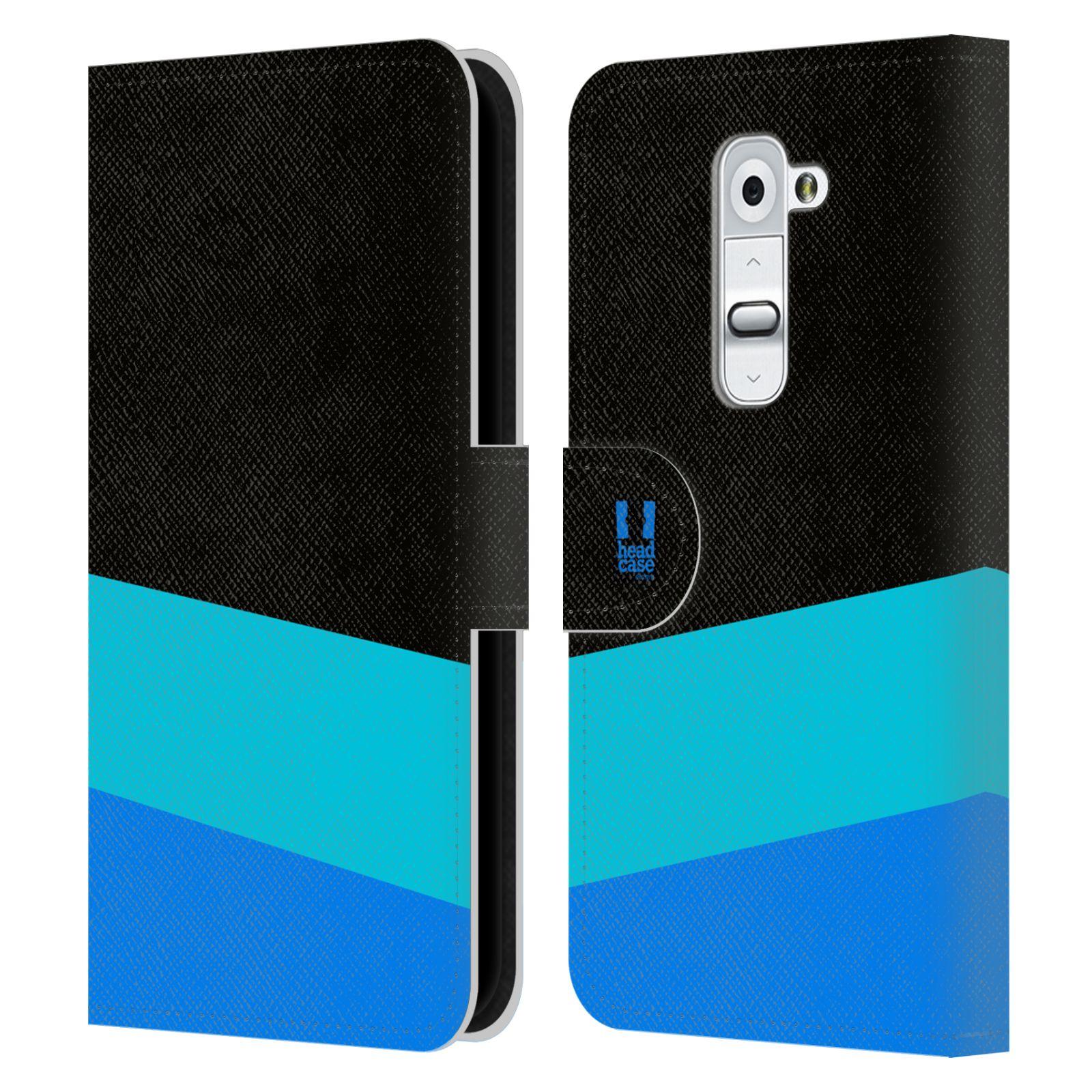 HEAD CASE Flipové pouzdro pro mobil LG G2 barevné tvary modrá a černá FORMAL