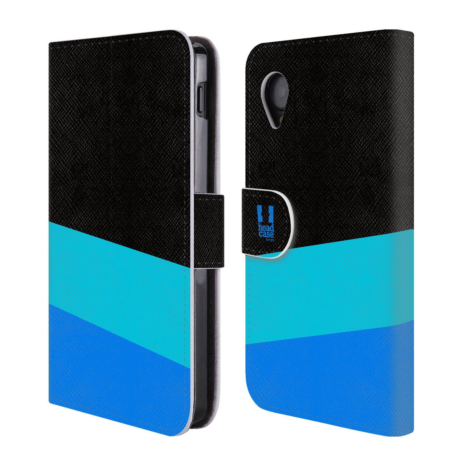 HEAD CASE Flipové pouzdro pro mobil LG GOOGLE NEXUS 5 barevné tvary modrá a černá FORMAL