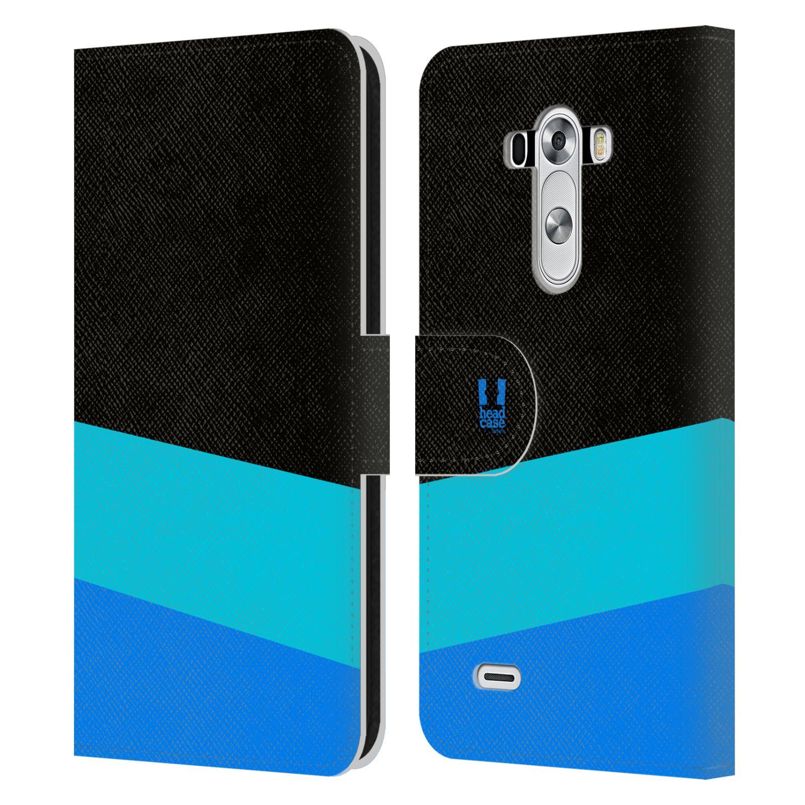 HEAD CASE Flipové pouzdro pro mobil LG G3 barevné tvary modrá a černá FORMAL