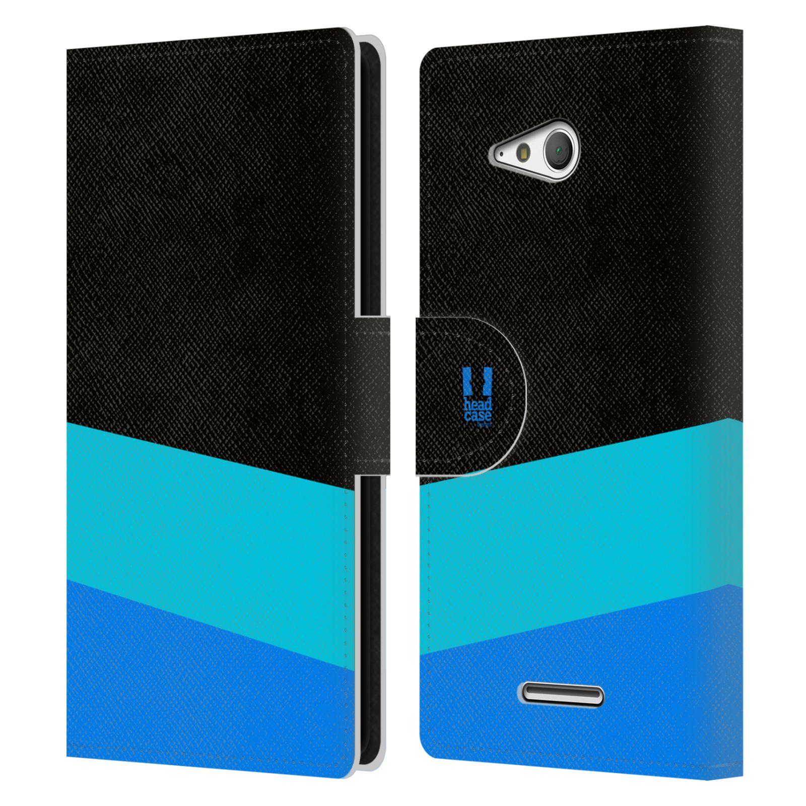 HEAD CASE Flipové pouzdro pro mobil SONY Xperia E4g barevné tvary modrá a černá FORMAL