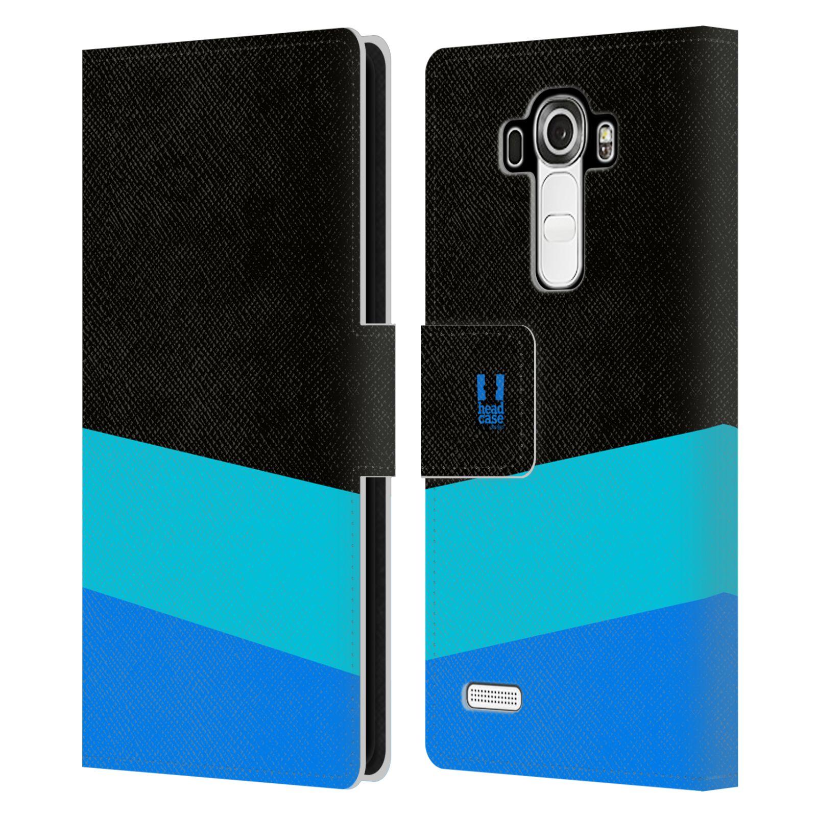 HEAD CASE Flipové pouzdro pro mobil LG G4 barevné tvary modrá a černá FORMAL