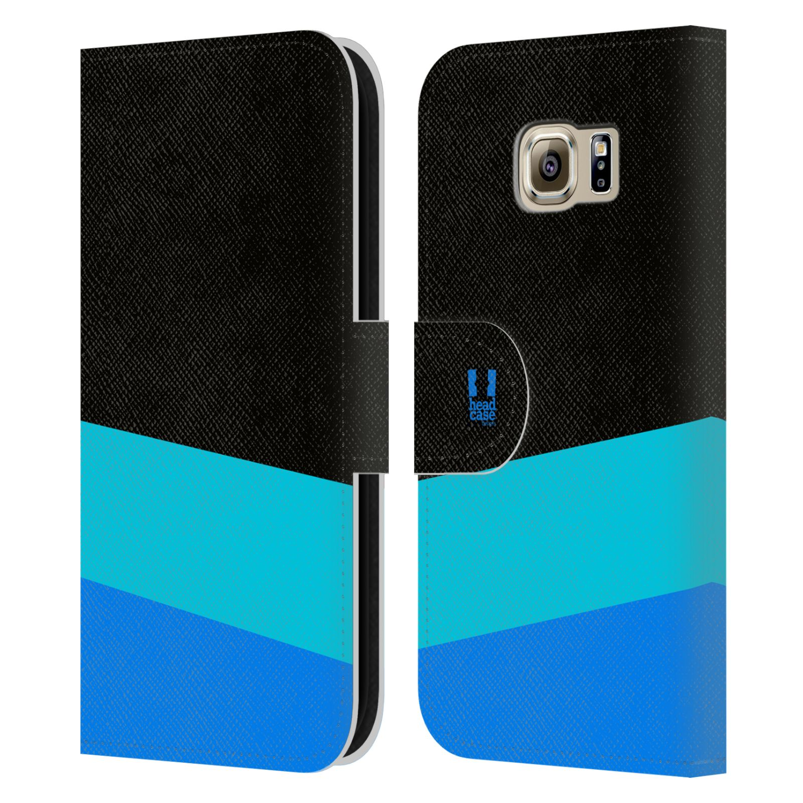 HEAD CASE Flipové pouzdro pro mobil Samsung Galaxy S6 barevné tvary modrá a černá FORMAL