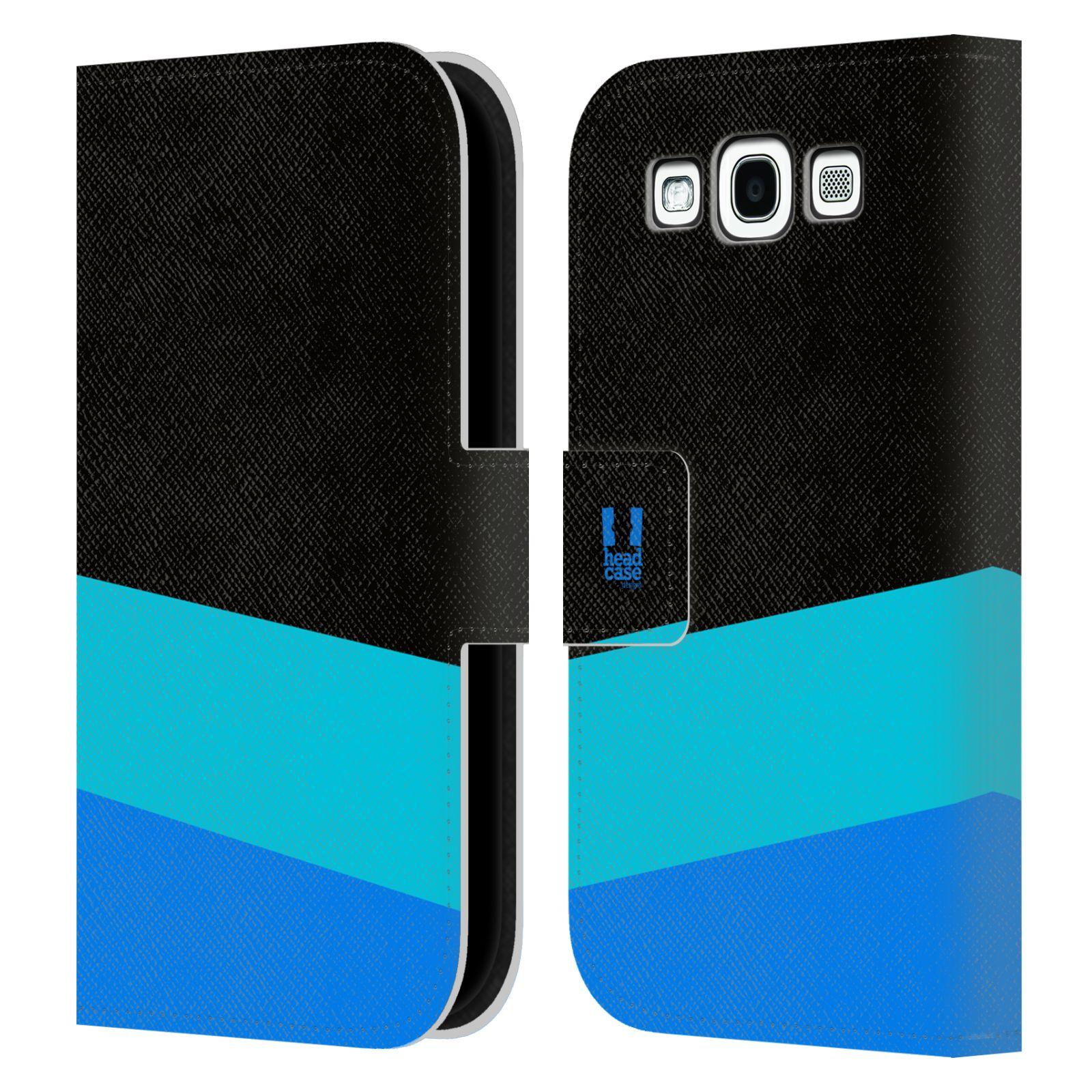 HEAD CASE Flipové pouzdro pro mobil Samsung Galaxy S3 I9300 barevné tvary modrá a černá FORMAL