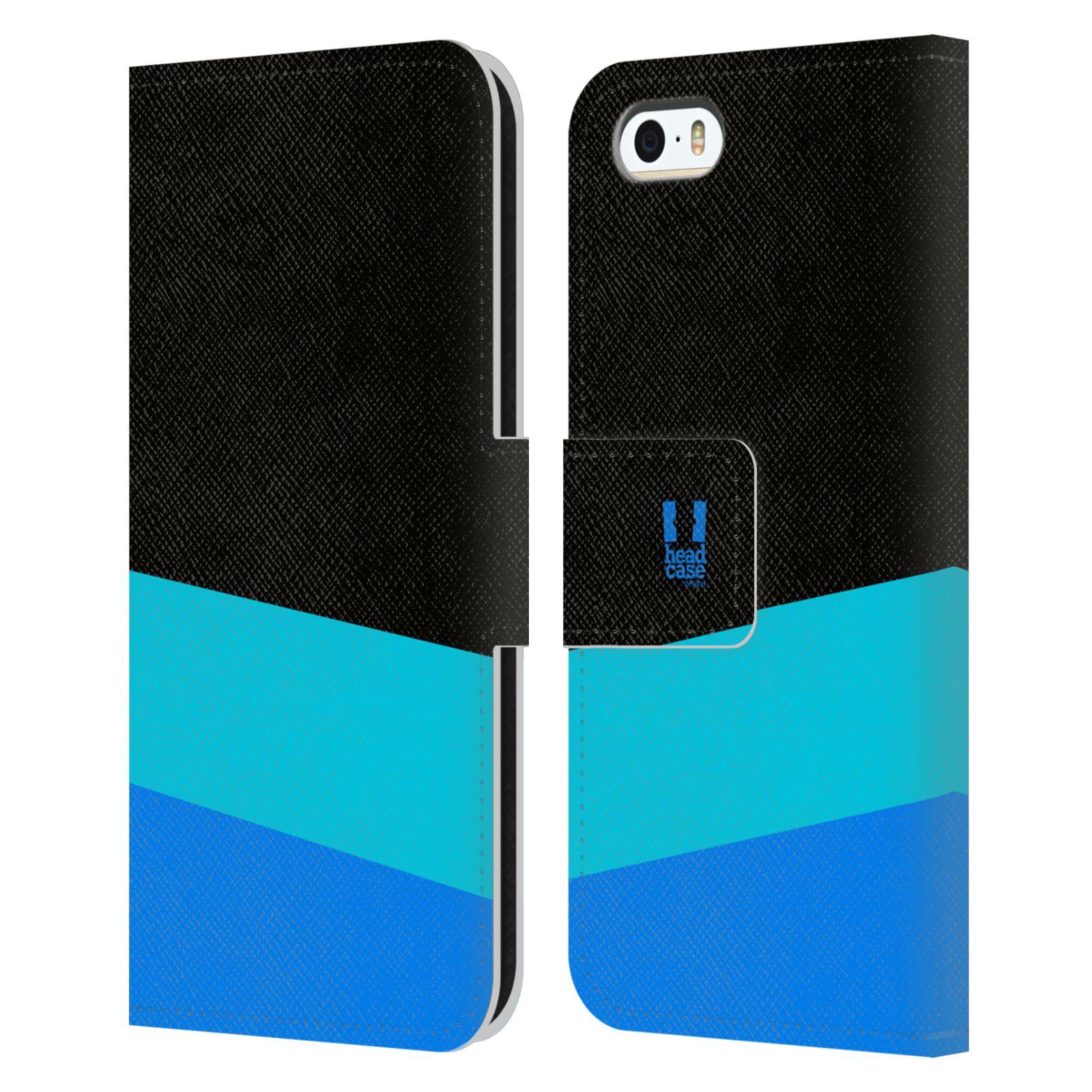 HEAD CASE Flipové pouzdro pro mobil Apple Iphone 5/5S barevné tvary modrá a černá FORMAL