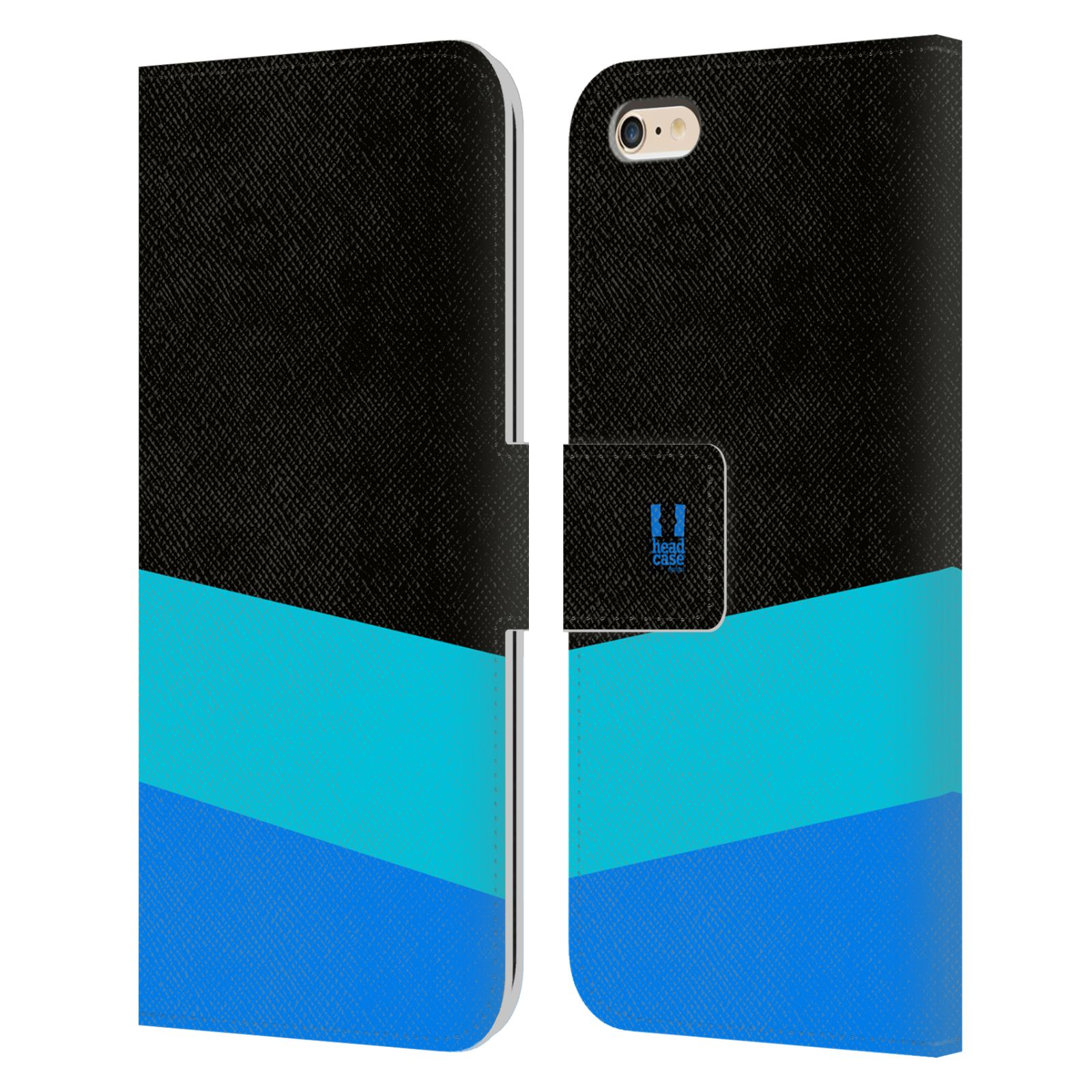 HEAD CASE Flipové pouzdro pro mobil Apple Iphone 6 PLUS/6S PLUS barevné tvary modrá a černá FORMAL