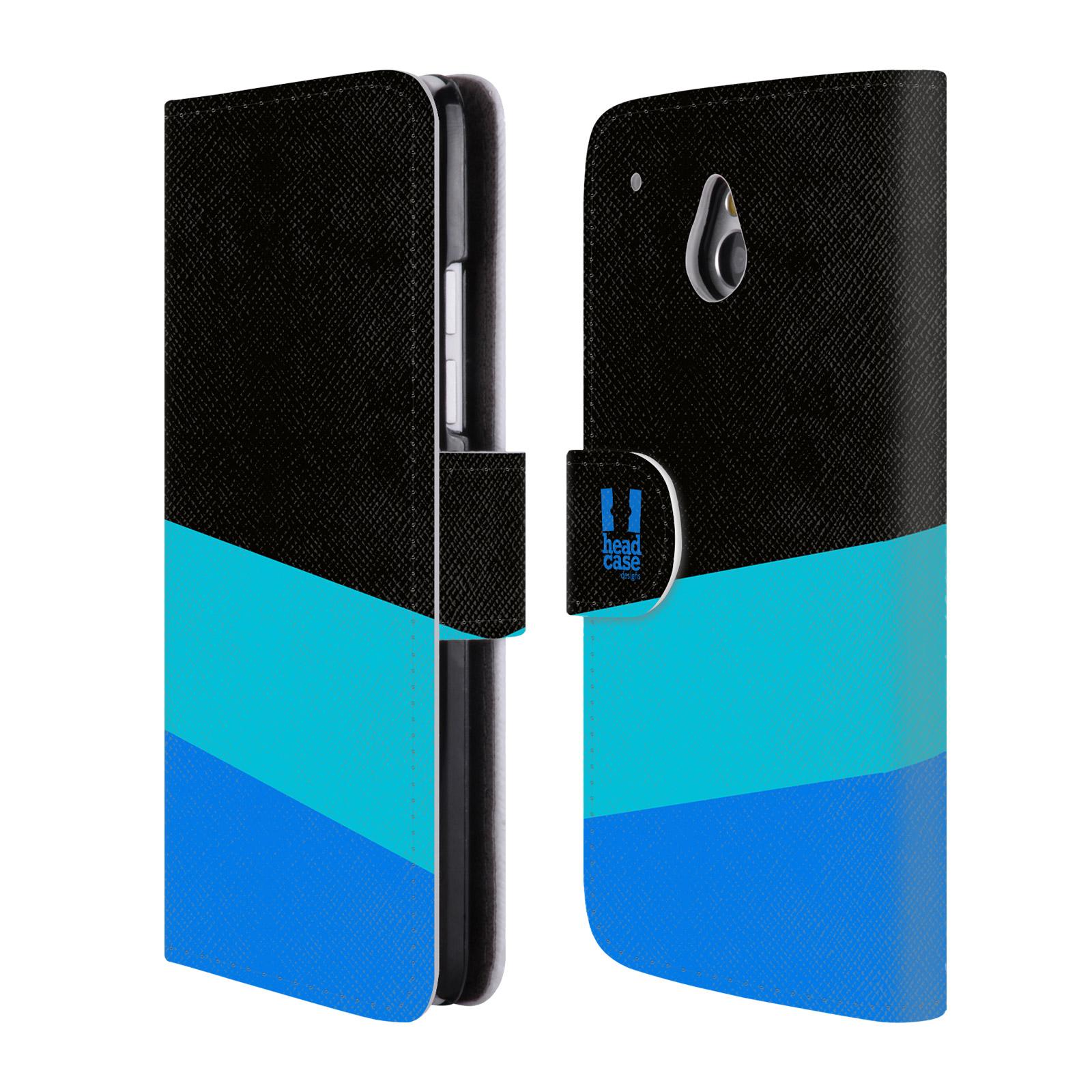 HEAD CASE Flipové pouzdro pro mobil HTC ONE MINI barevné tvary modrá a černá FORMAL