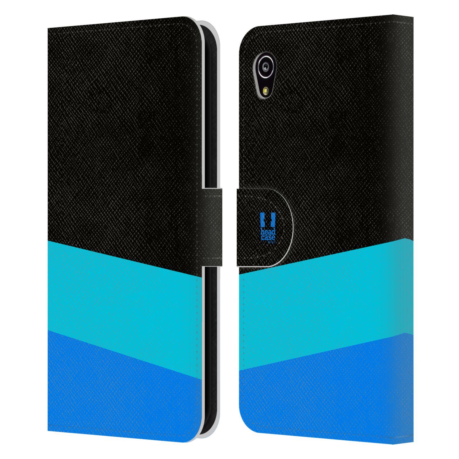 HEAD CASE Flipové pouzdro pro mobil SONY Xperia M4 Aqua barevné tvary modrá a černá FORMAL