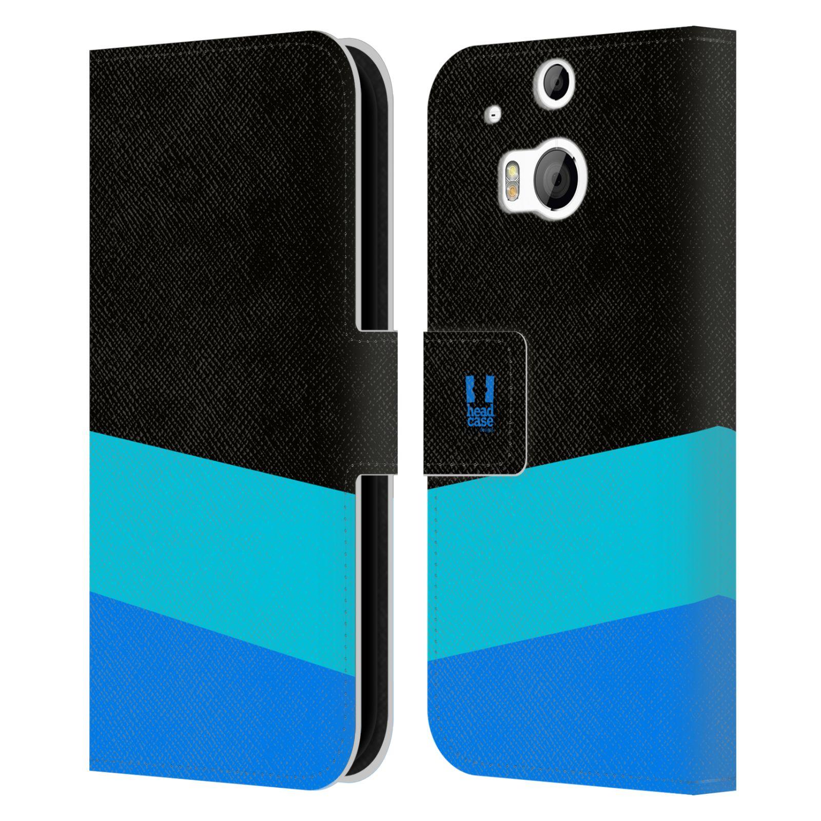HEAD CASE Flipové pouzdro pro mobil HTC ONE M8/M8s barevné tvary modrá a černá FORMAL