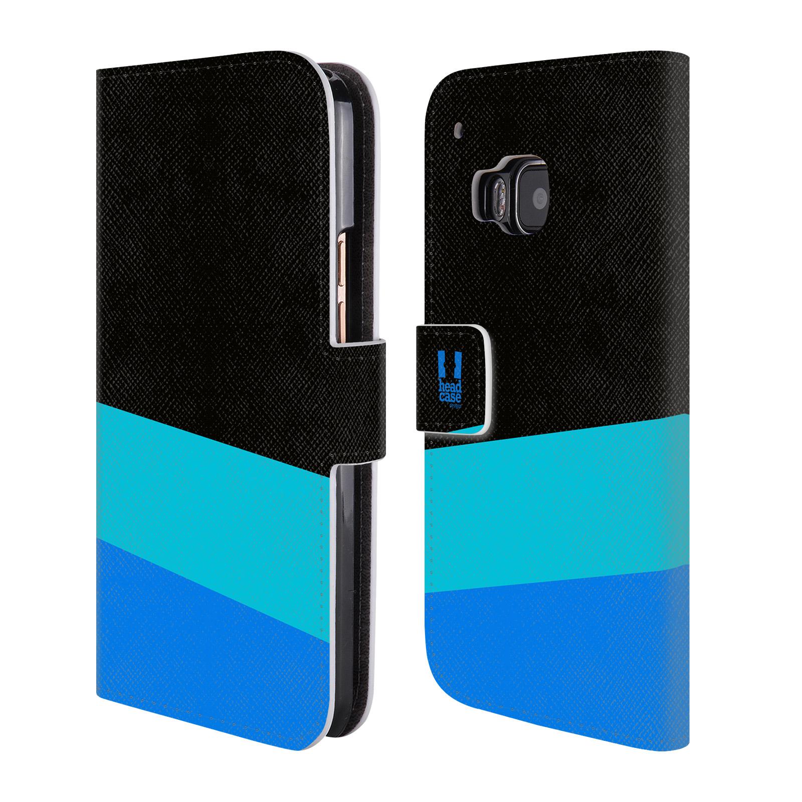 HEAD CASE Flipové pouzdro pro mobil HTC ONE M9 barevné tvary modrá a černá FORMAL