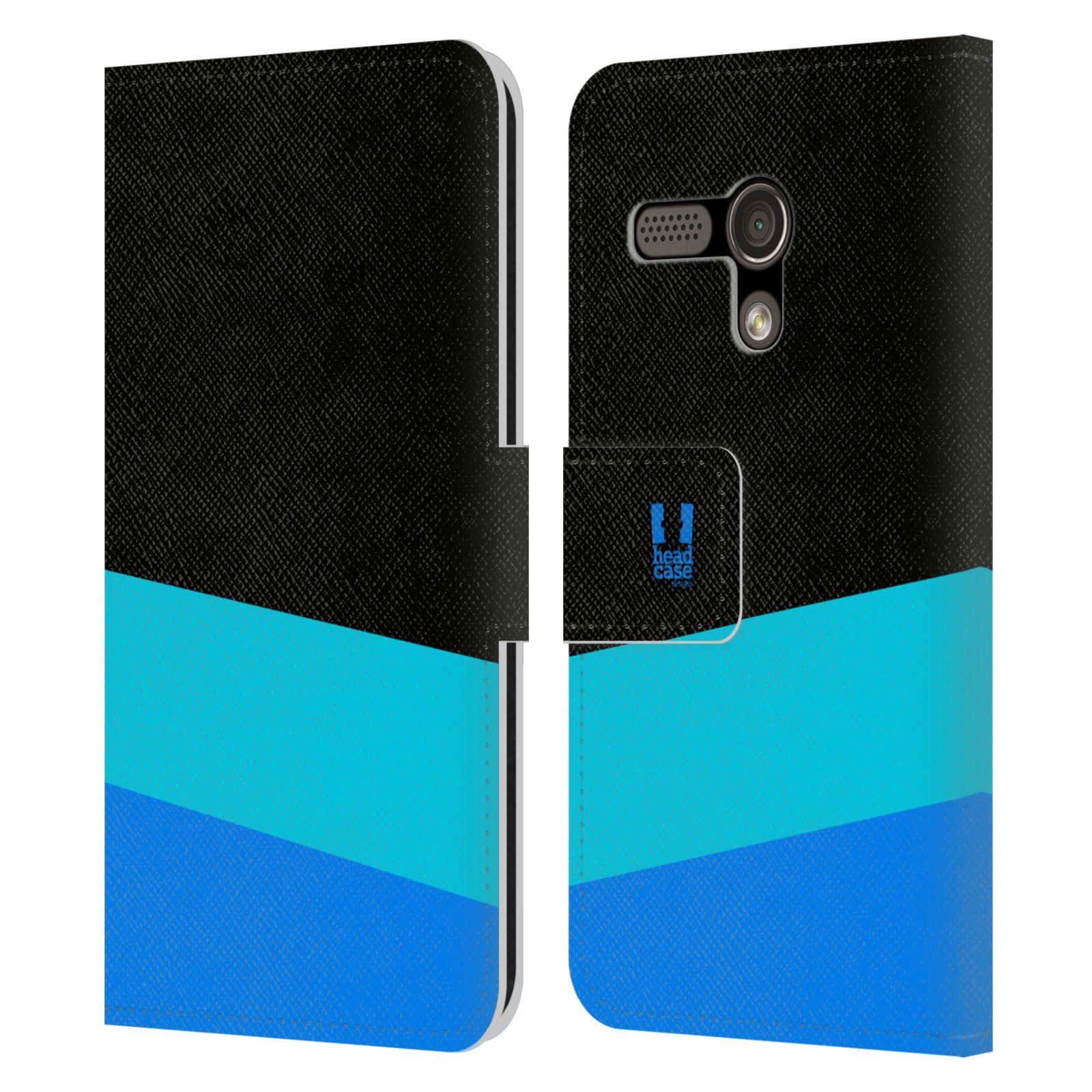 HEAD CASE Flipové pouzdro pro mobil Motorola MOTO G barevné tvary modrá a černá FORMAL