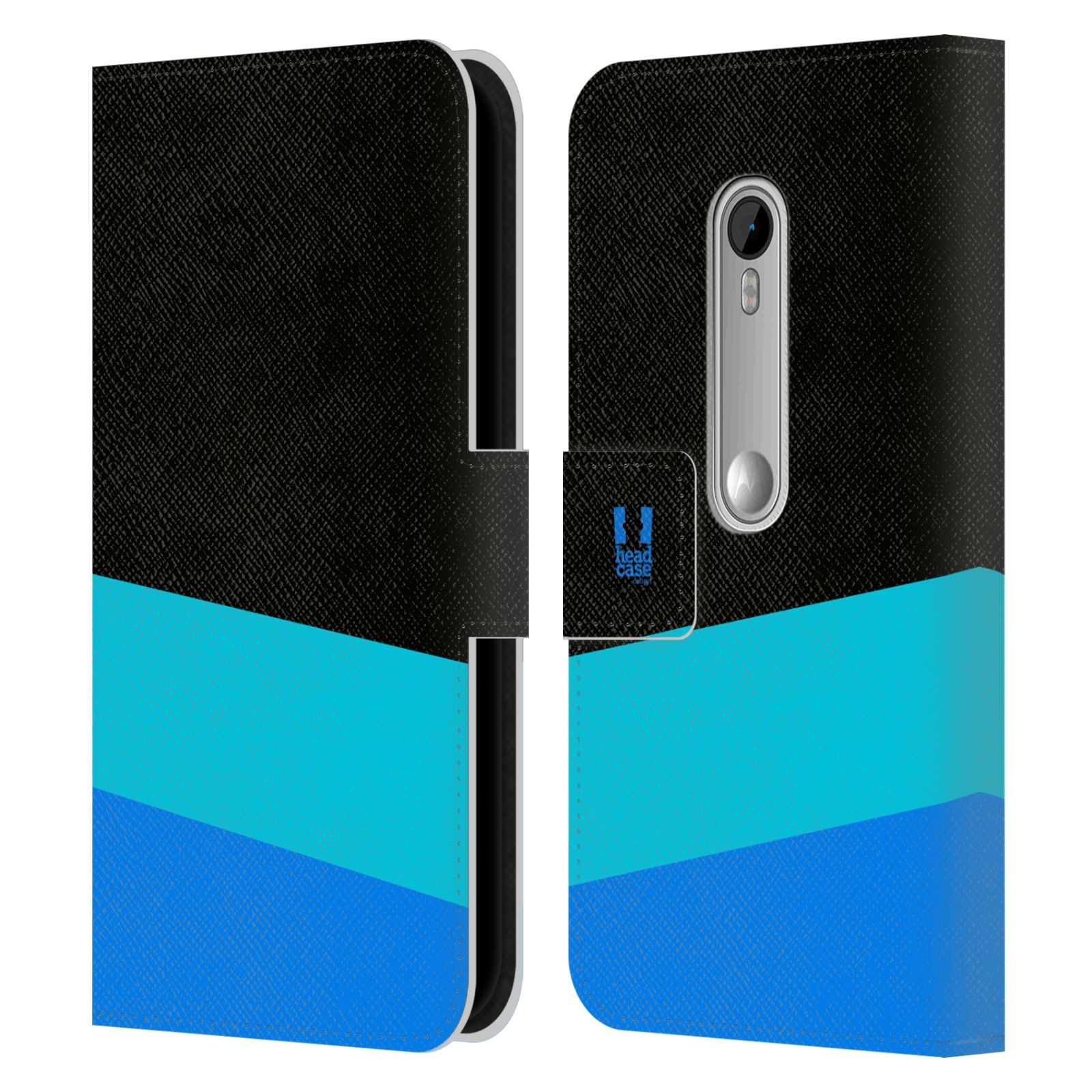 HEAD CASE Flipové pouzdro pro mobil Motorola MOTO G 3RD GENERATION barevné tvary modrá a černá FORMAL