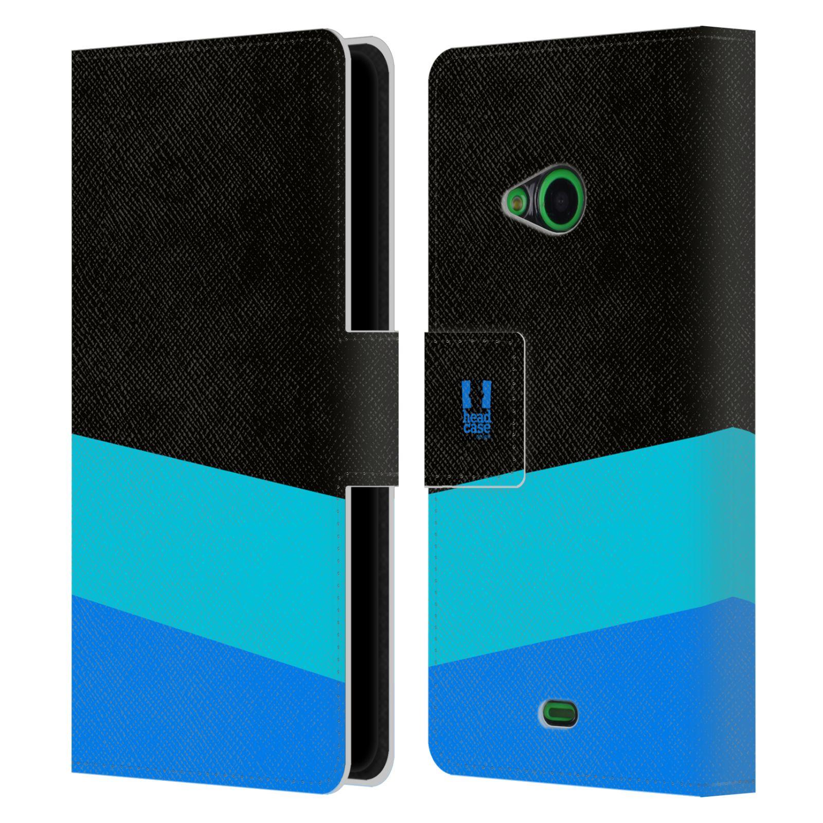 HEAD CASE Flipové pouzdro pro mobil Nokia LUMIA 535 barevné tvary modrá a černá FORMAL