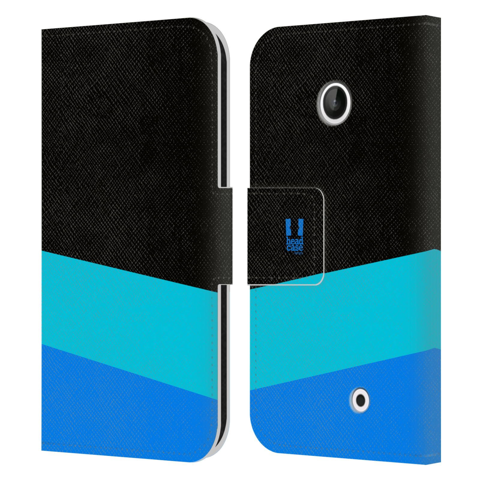 HEAD CASE Flipové pouzdro pro mobil Nokia LUMIA 630/630 DUAL barevné tvary modrá a černá FORMAL